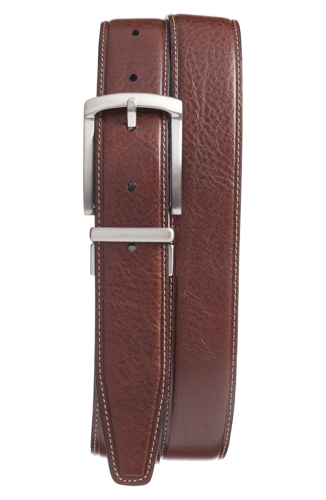 Reversible Leather Belt,                             Alternate thumbnail 3, color,