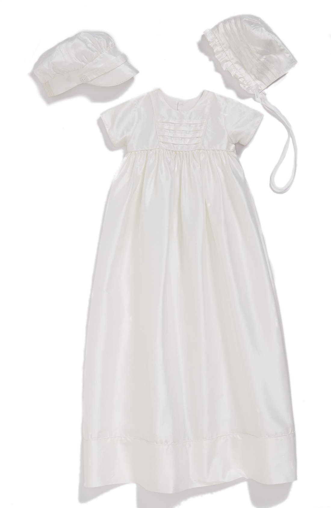 Dupioni Christening Gown with Hat and Bonnet Set,                         Main,                         color, WHITE