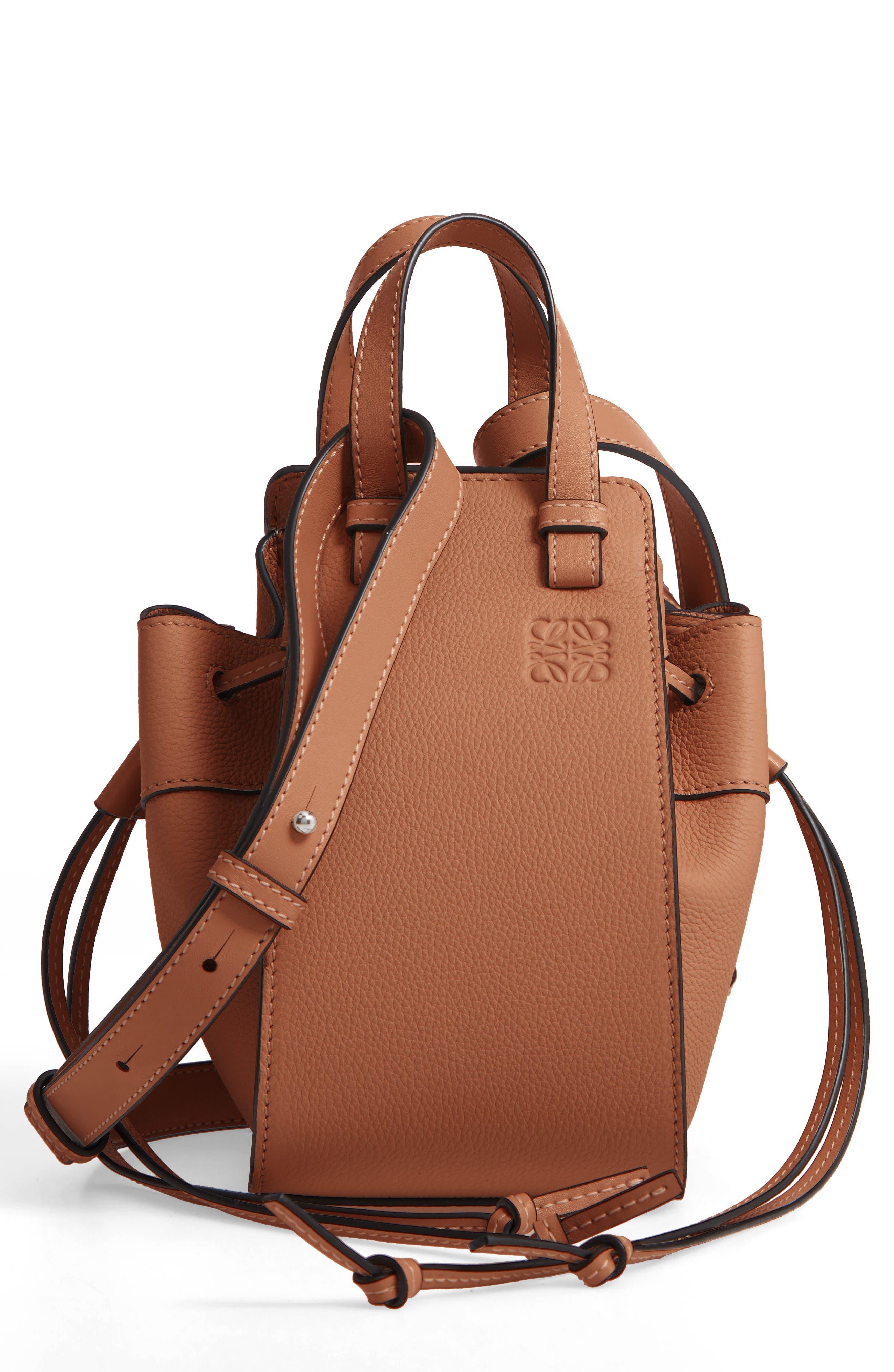LOEWE Mini Hammock Calfskin Leather Hobo Bag, Main, color, TAN