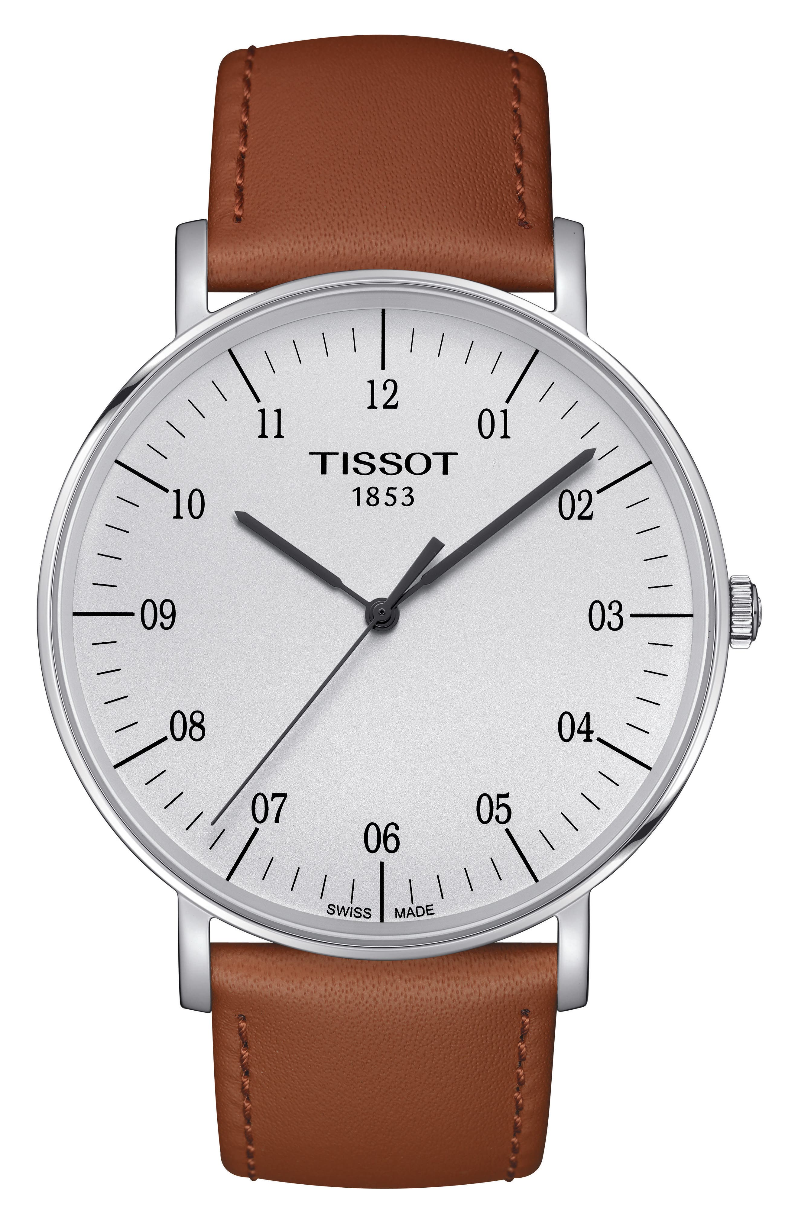 Everytime Leather Strap Watch, 42mm,                         Main,                         color, BEIGE/ SILVER
