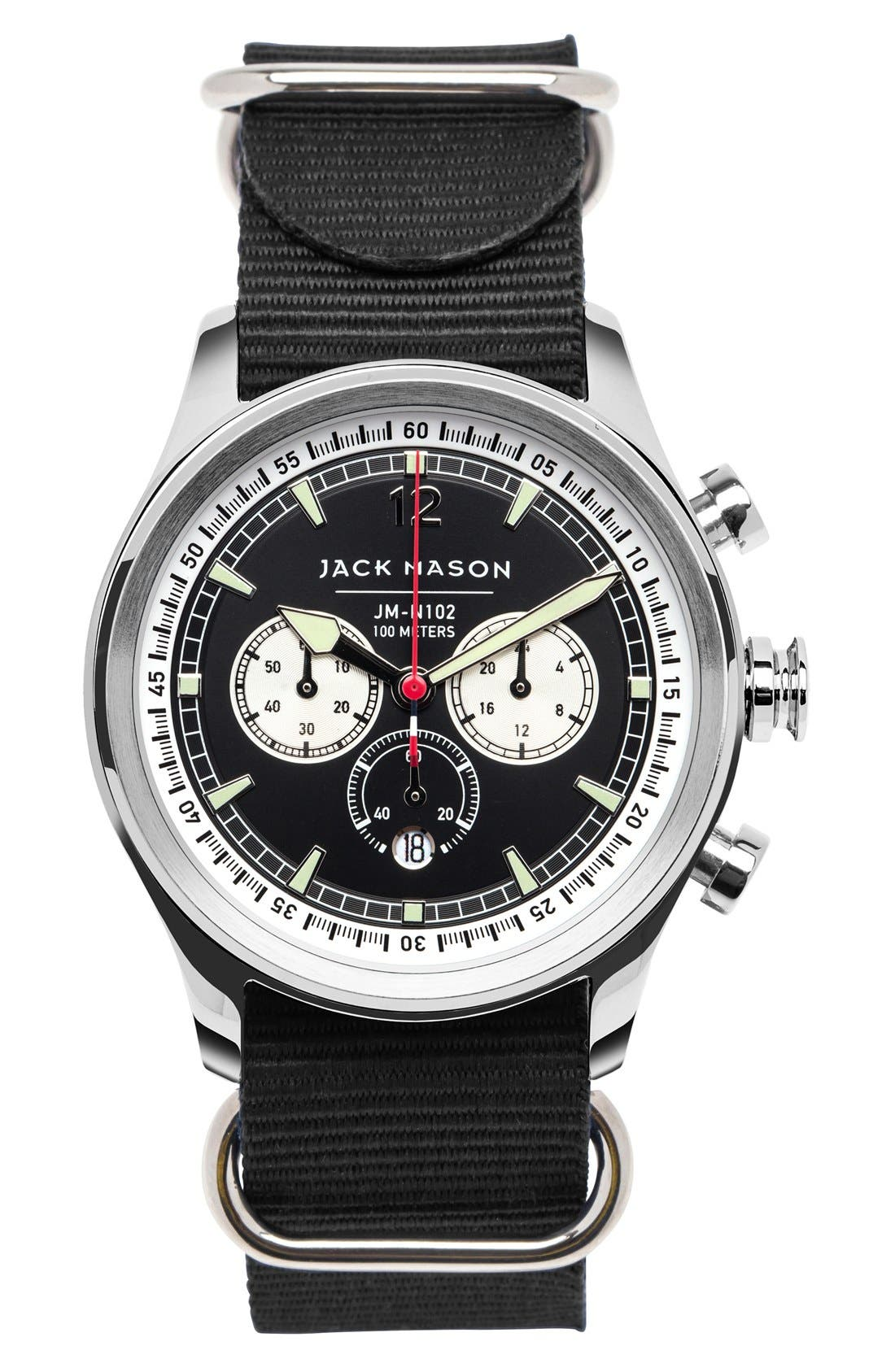 Nautical Chronograph NATO Strap Watch, 42mm,                             Main thumbnail 2, color,