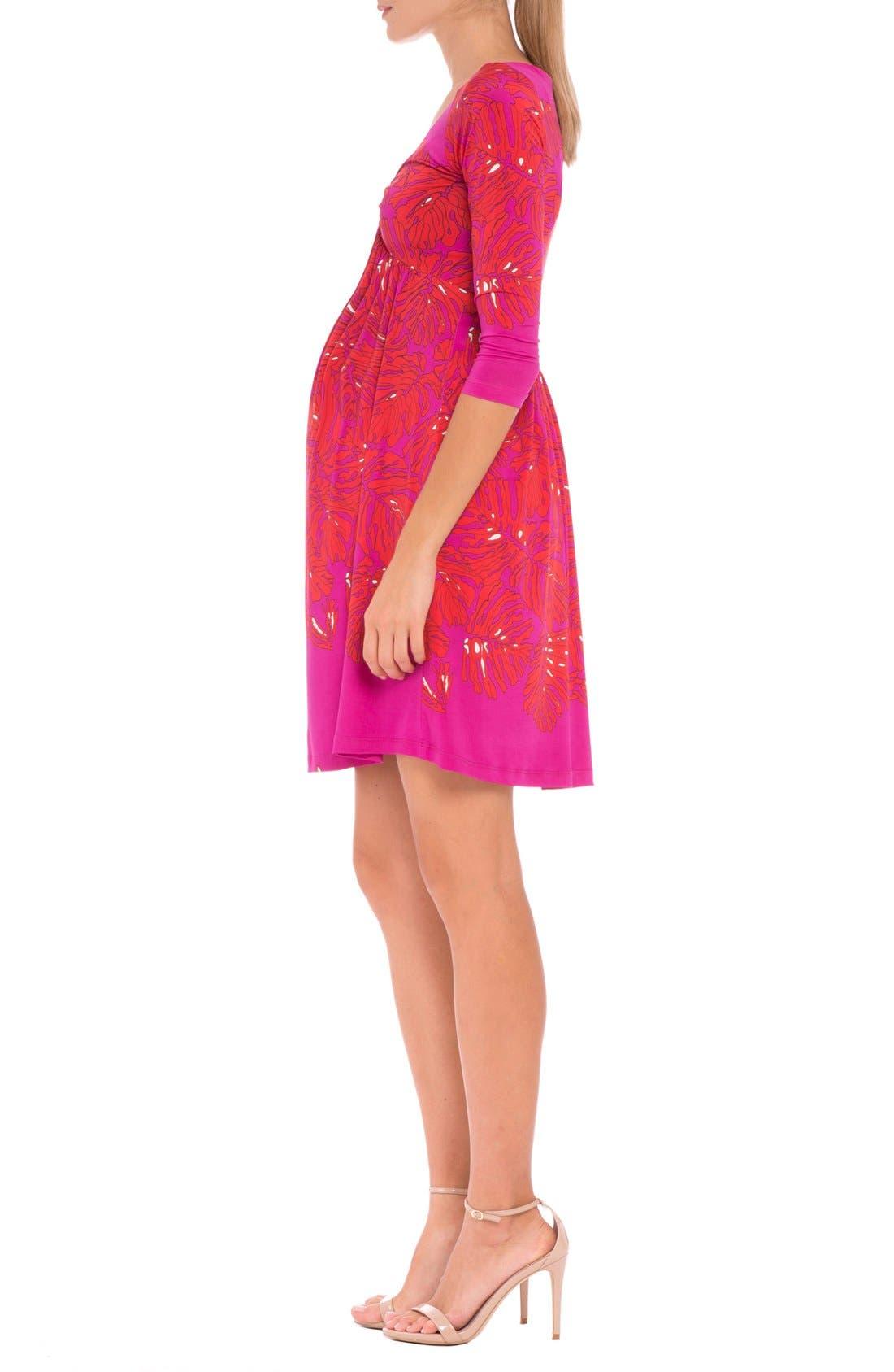'Scarlet' Print Maternity Dress,                             Alternate thumbnail 4, color,                             RED