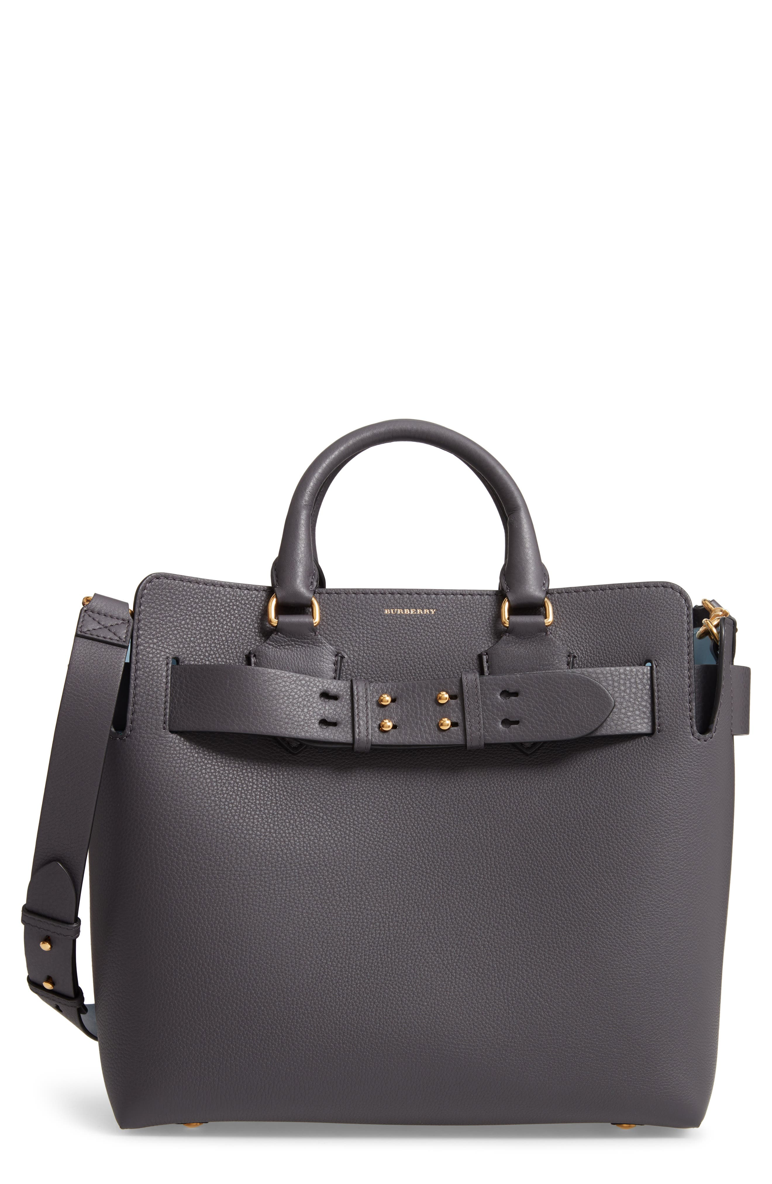 Medium Leather Belted Bag,                             Main thumbnail 1, color,                             CHARCOAL GREY