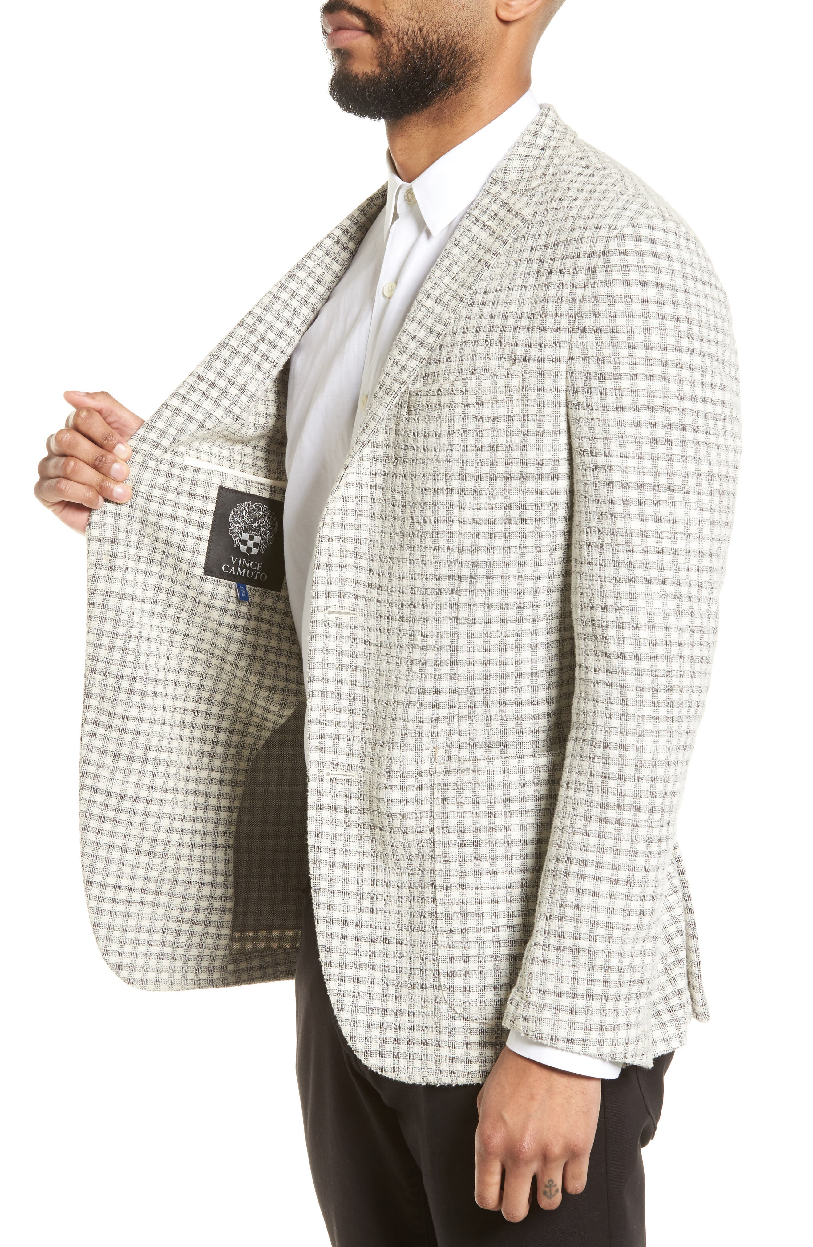 Dell Aria Unconstructed Blazer,                             Alternate thumbnail 3, color,                             GREY CREAM CHECK BOUCLE