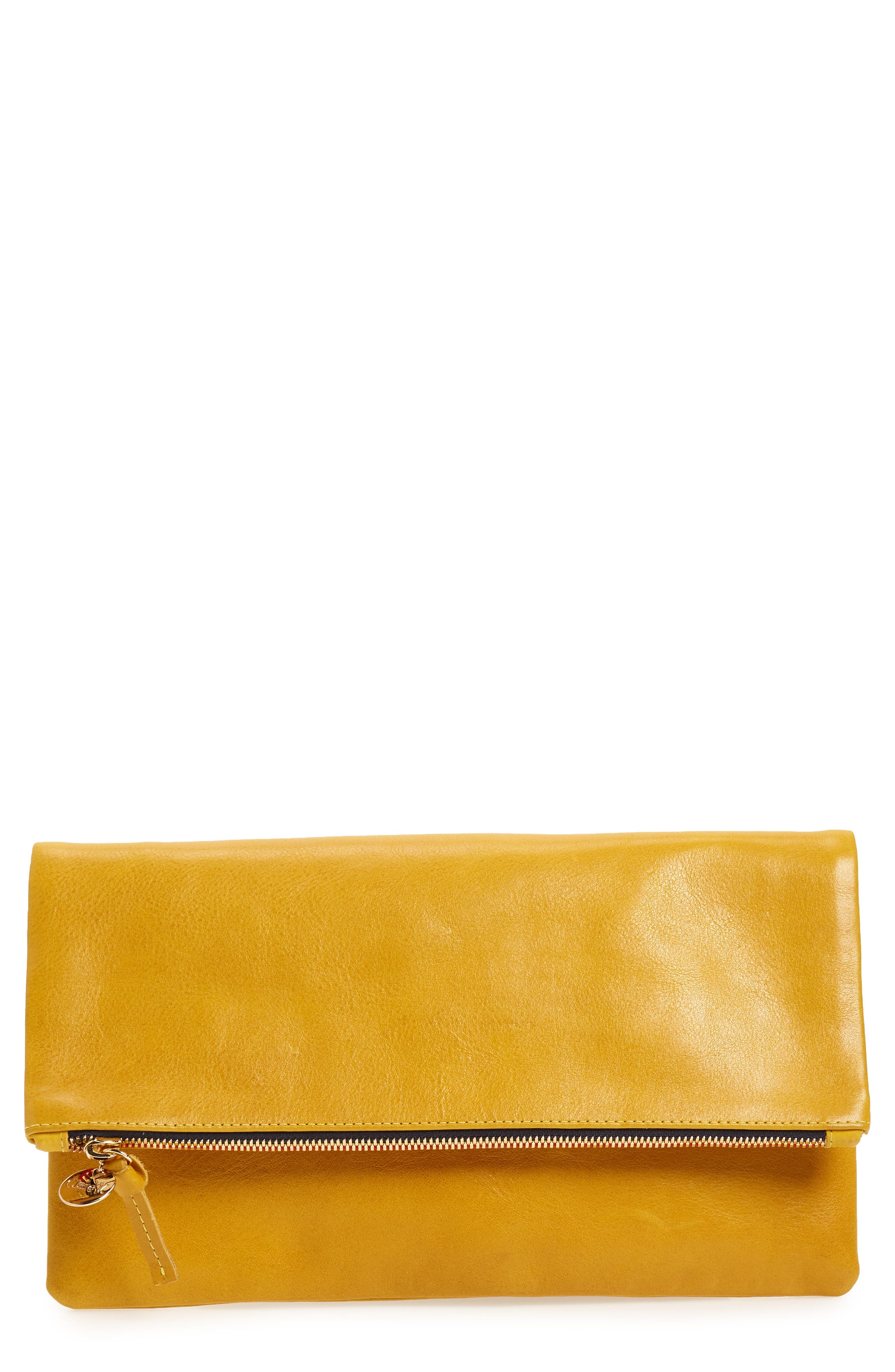 Leather Foldover Clutch,                         Main,                         color, 700