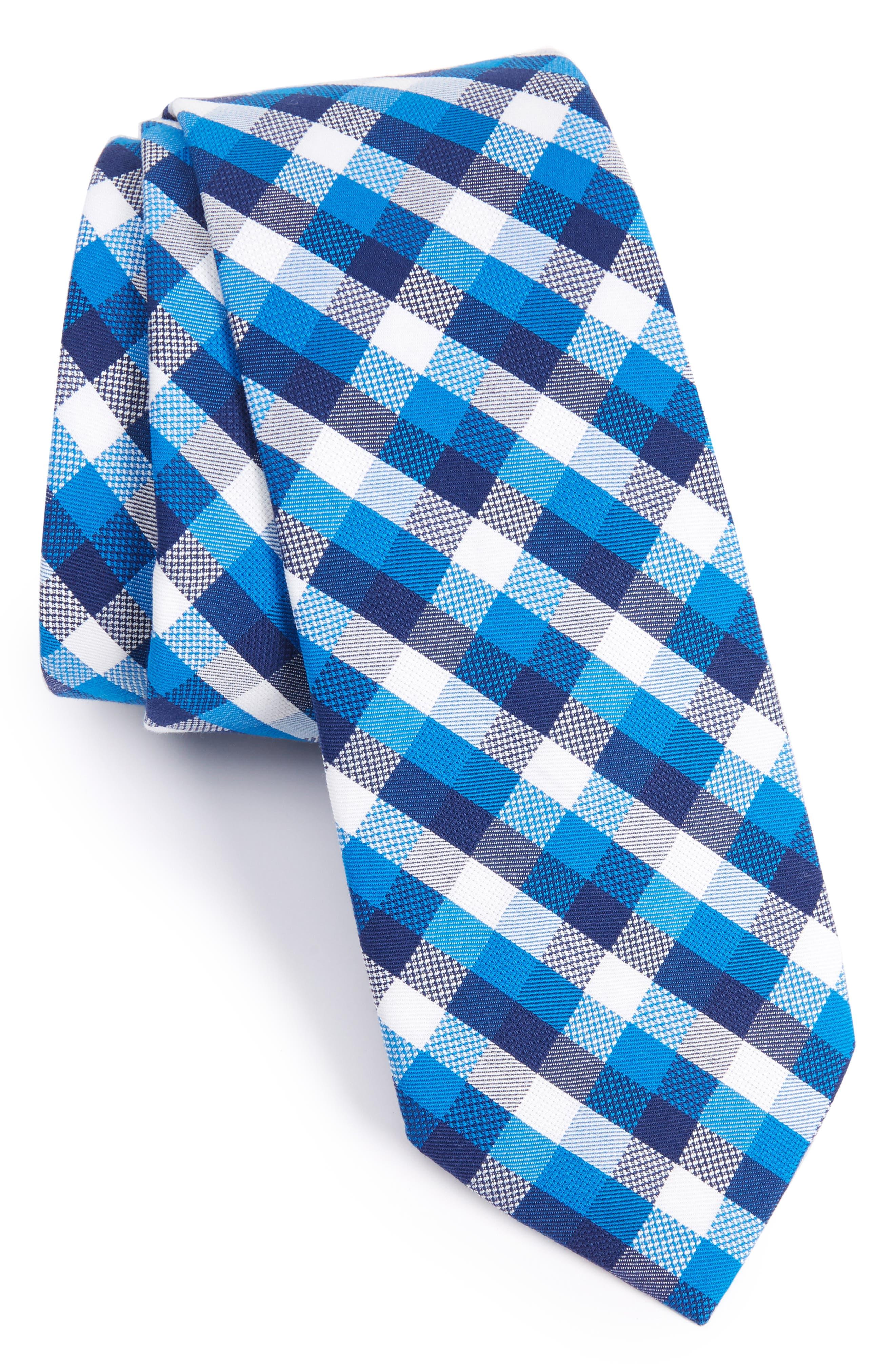 Scott Check Cotton Skinny Tie,                             Main thumbnail 2, color,