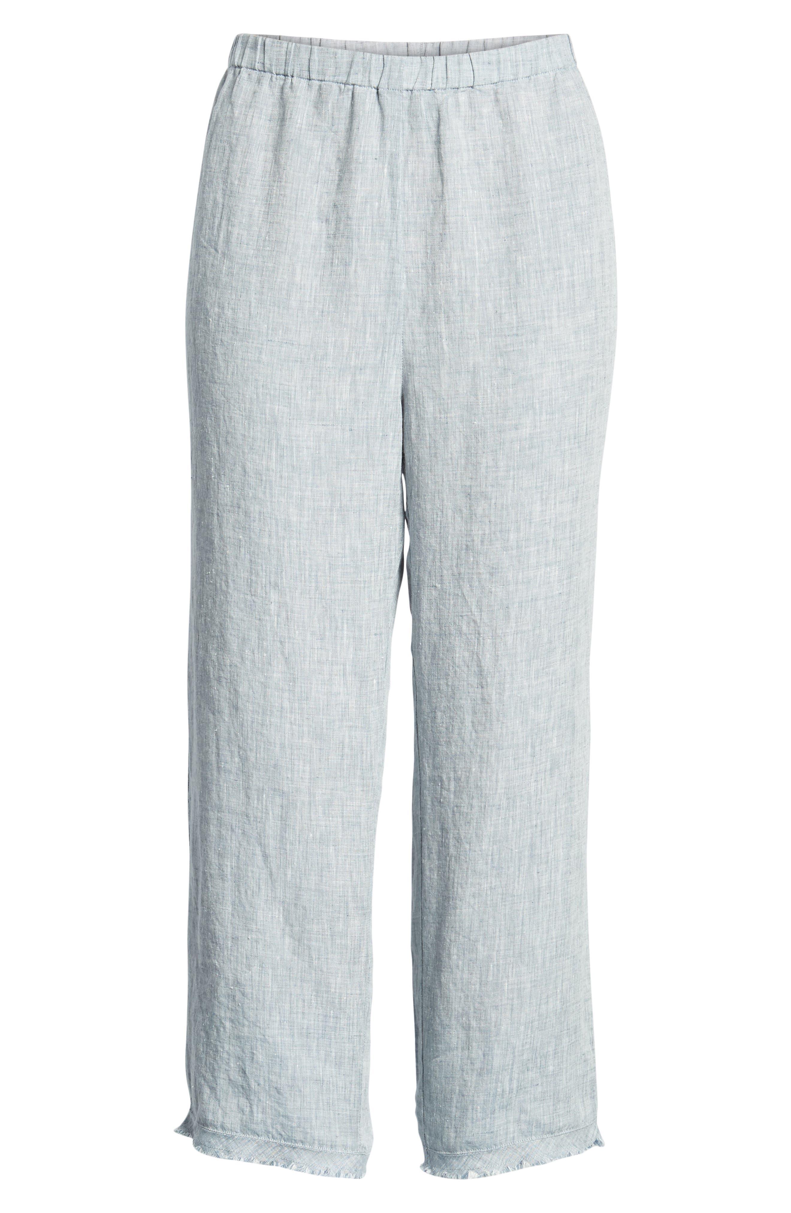 Crop Straight Leg Linen Pants,                             Alternate thumbnail 13, color,