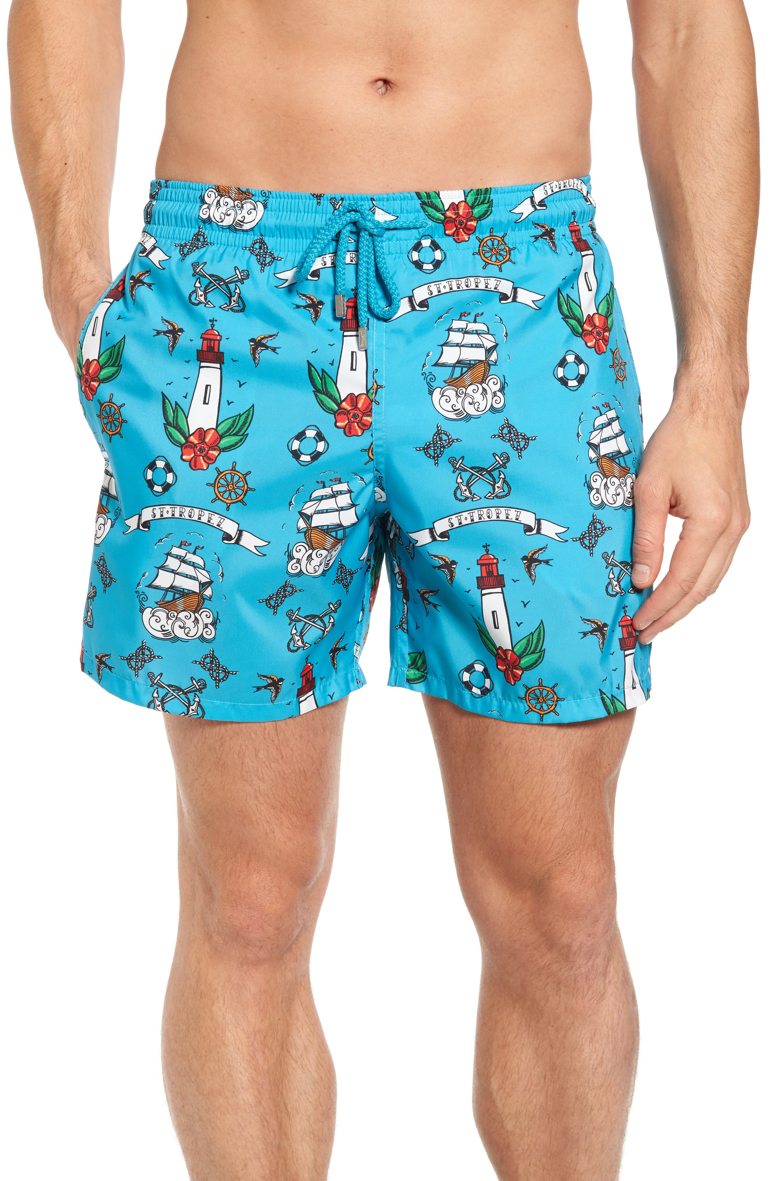 Tattoo Sashimi Swim Trunks,                         Main,                         color,