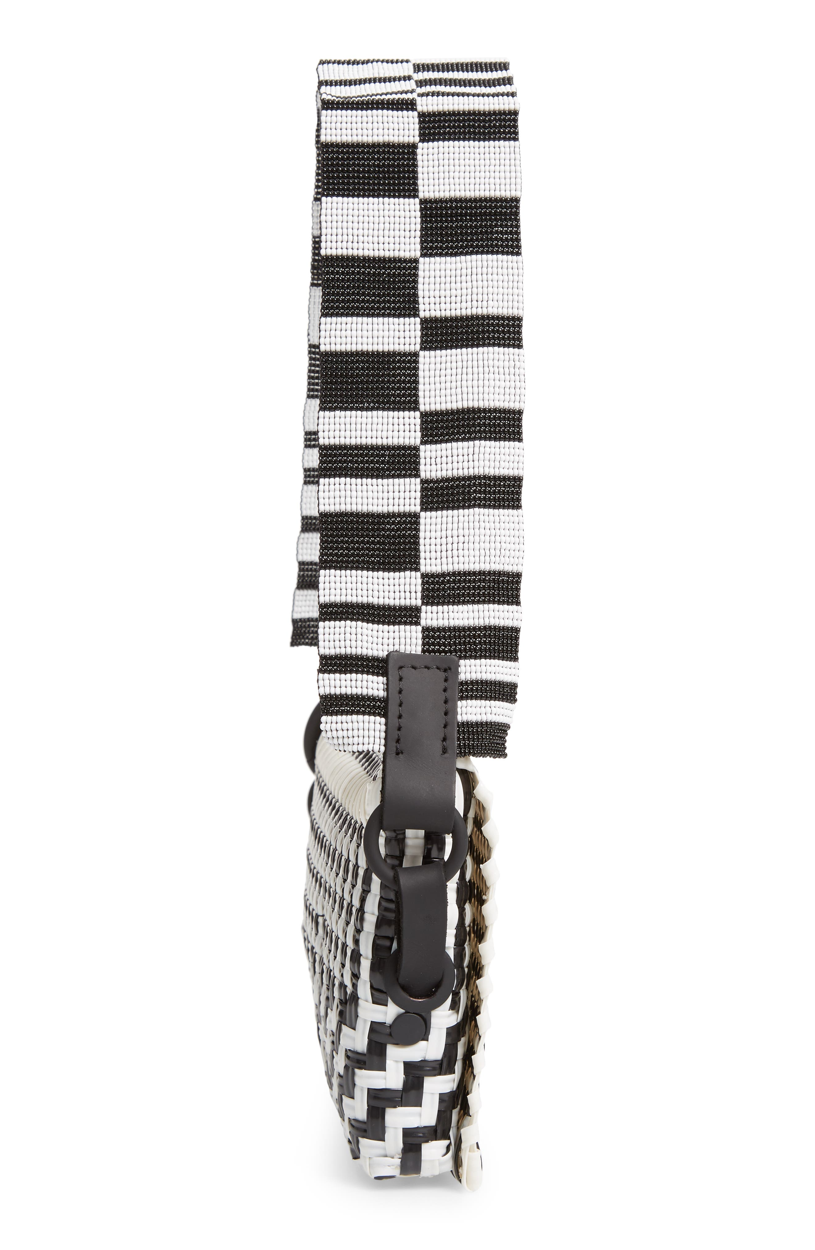 Woven Baguette Shoulder Bag,                             Alternate thumbnail 5, color,                             BLACK/ WHITE