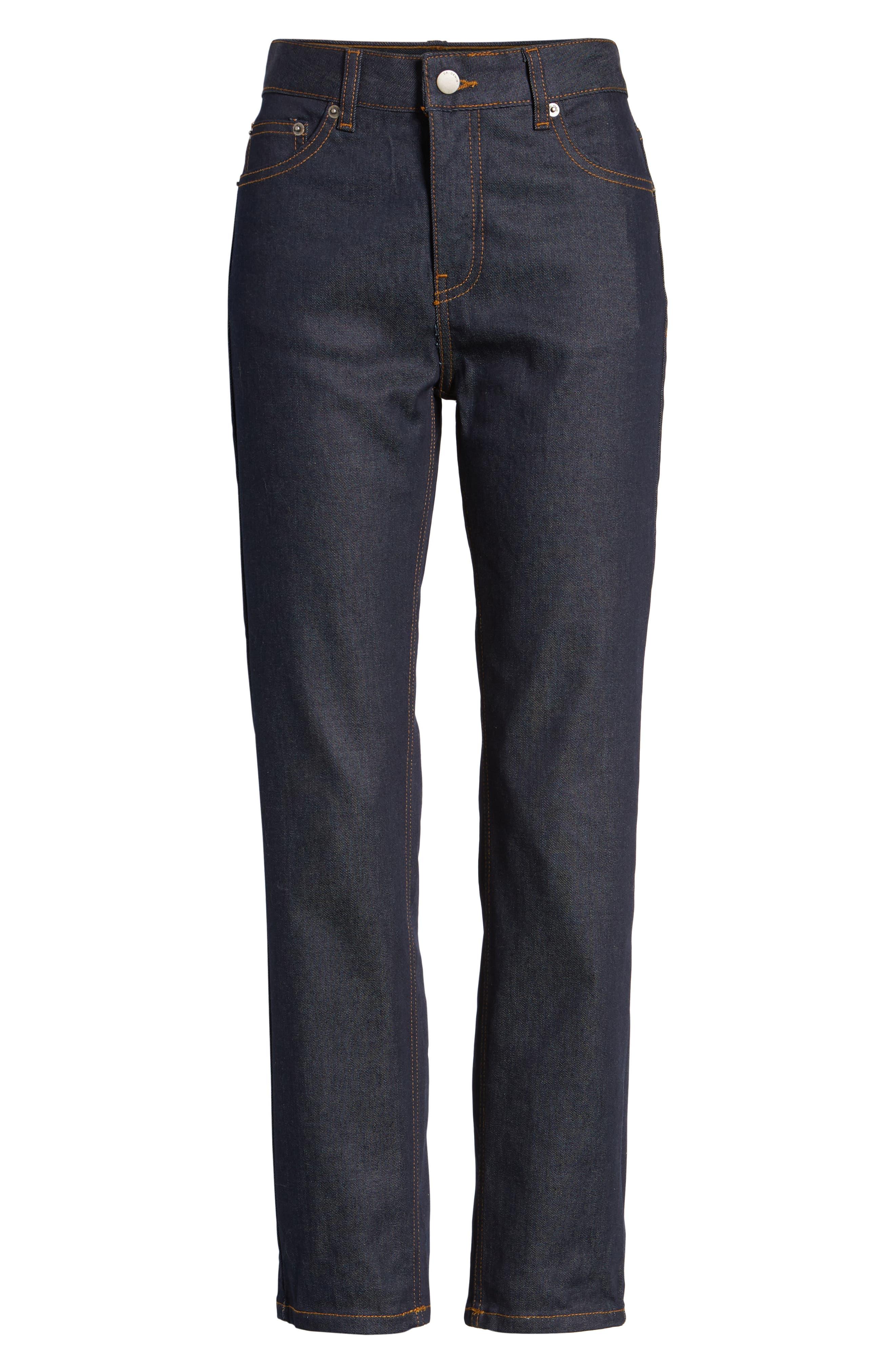 Edie High Waist Crop Jeans,                             Alternate thumbnail 7, color,                             RINSED BLUE
