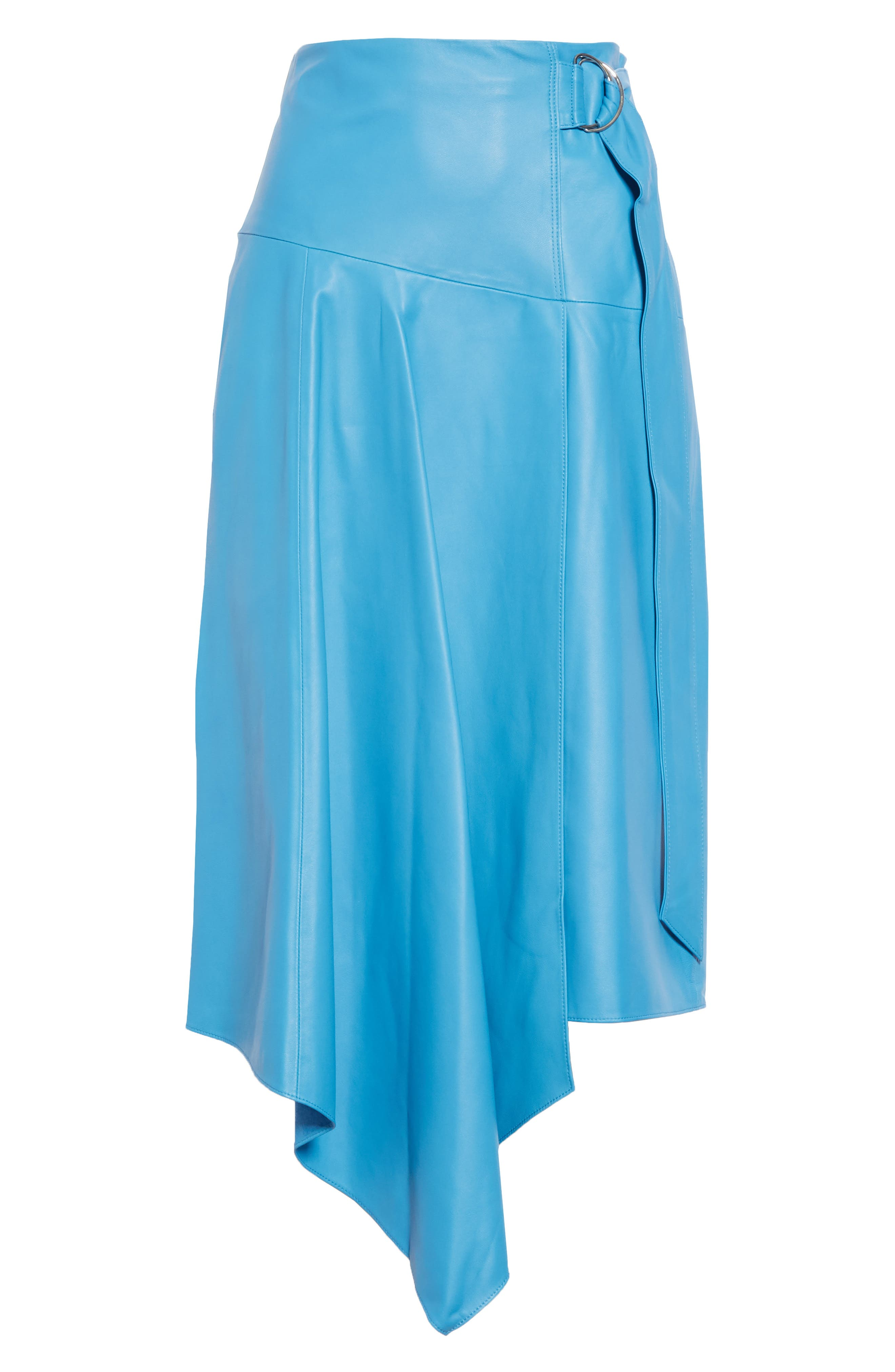TIBI,                             Asymmetrical Drape Tissue Leather Skirt,                             Alternate thumbnail 6, color,                             OCEAN BLUE