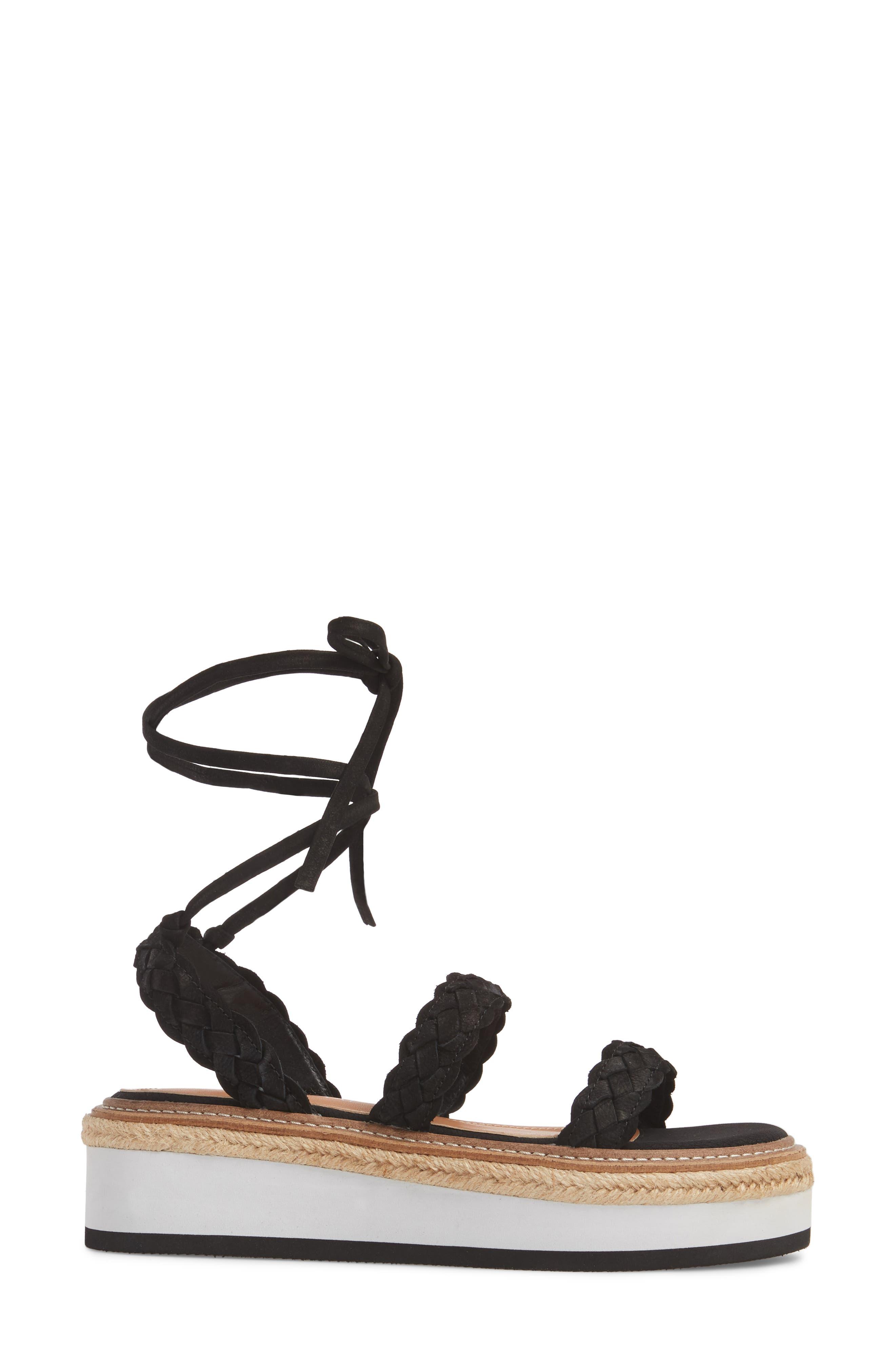 Nieve Braided Platform Sandal,                             Alternate thumbnail 3, color,                             001