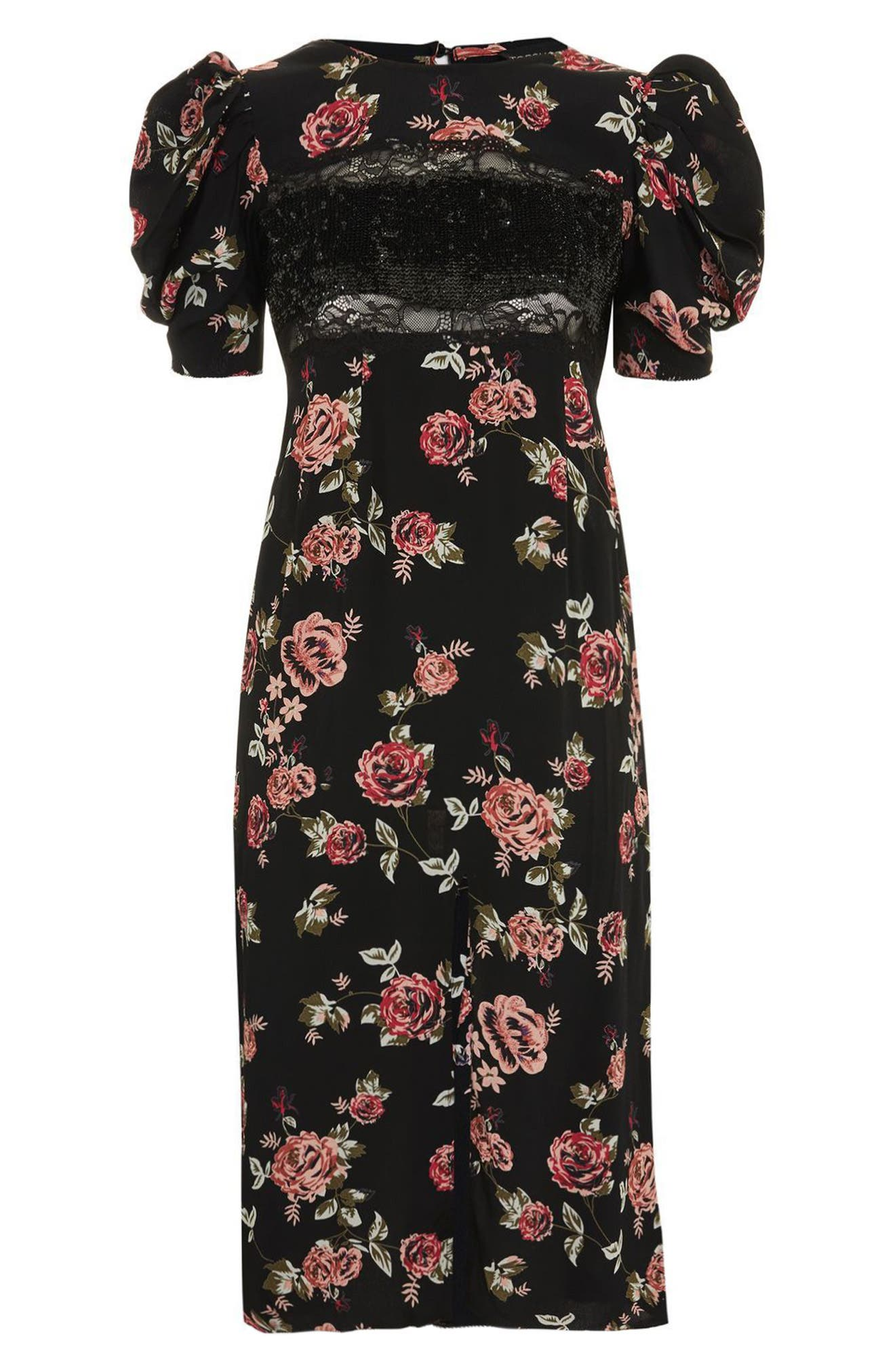 Sequined Floral Puff Sleeve Midi Dress,                             Alternate thumbnail 4, color,                             001