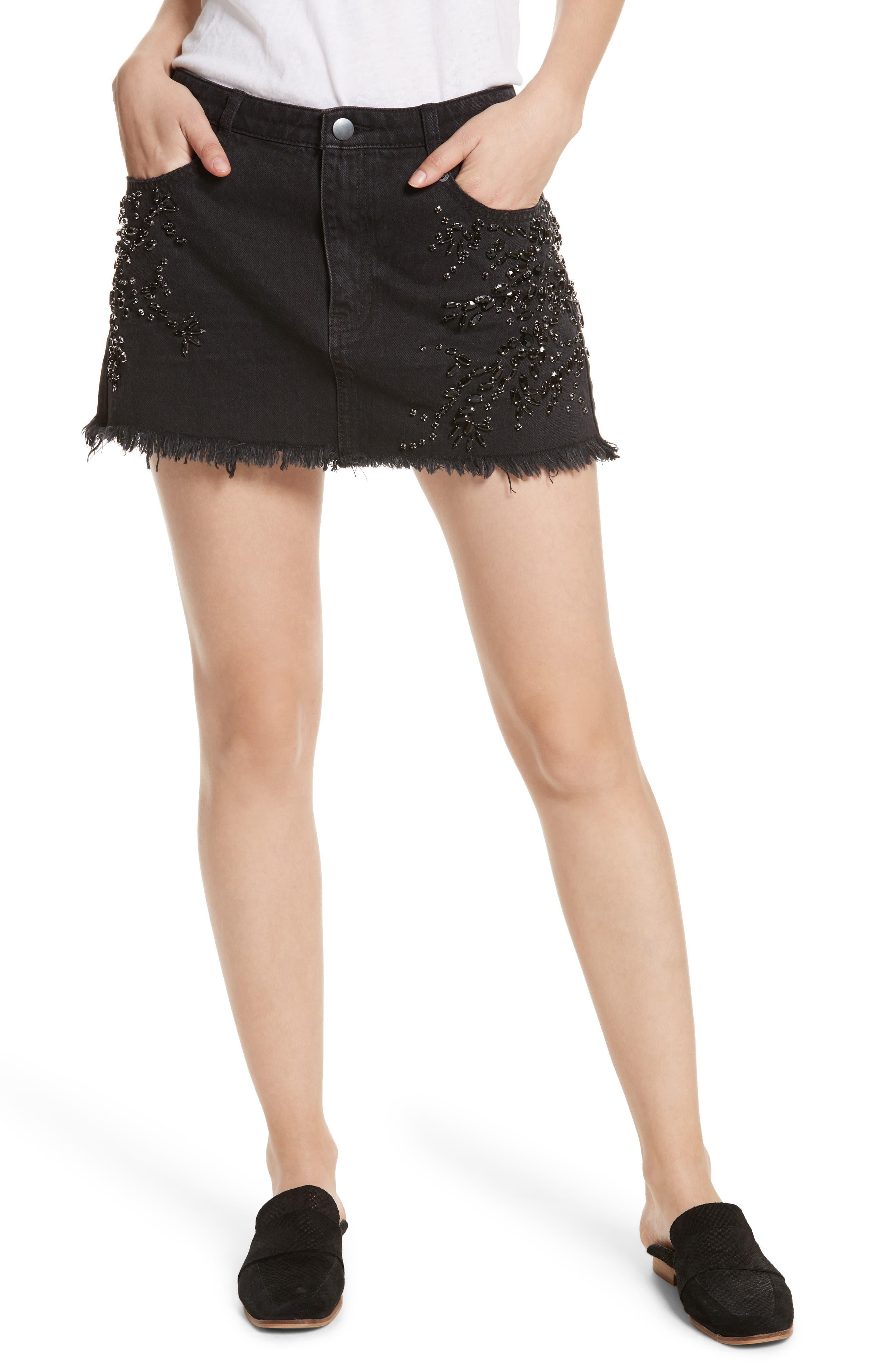 Shine Bright Shine Far Beaded Miniskirt,                             Main thumbnail 1, color,                             001