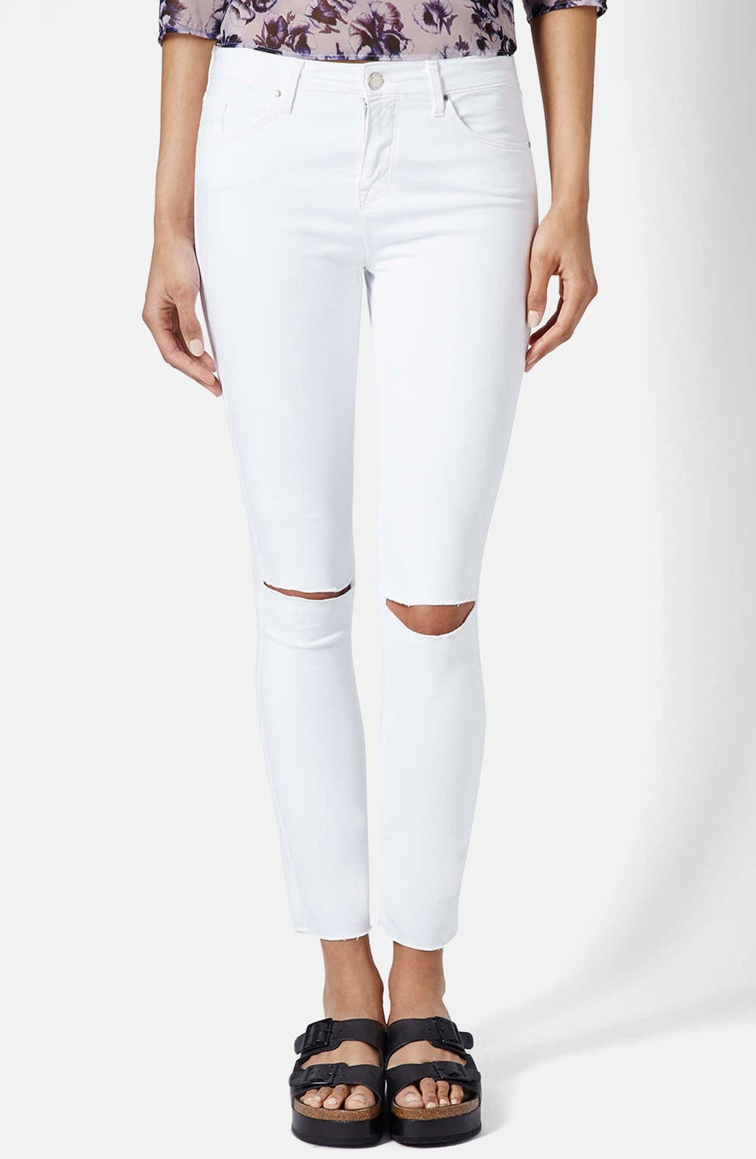TOPSHOP Moto 'Leigh' Ripped Ankle Skinny Jeans, Main, color, 100