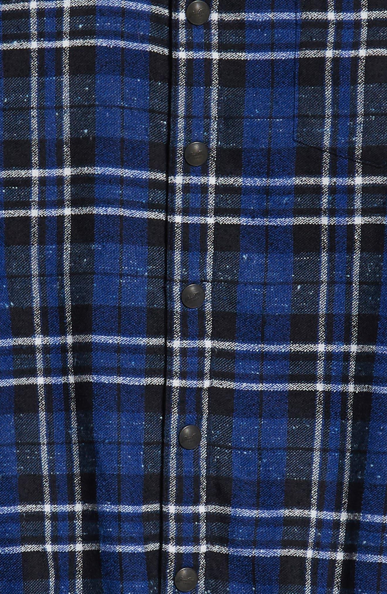 Slim Fit Tartan Shirt Jacket,                             Alternate thumbnail 6, color,                             NAVY
