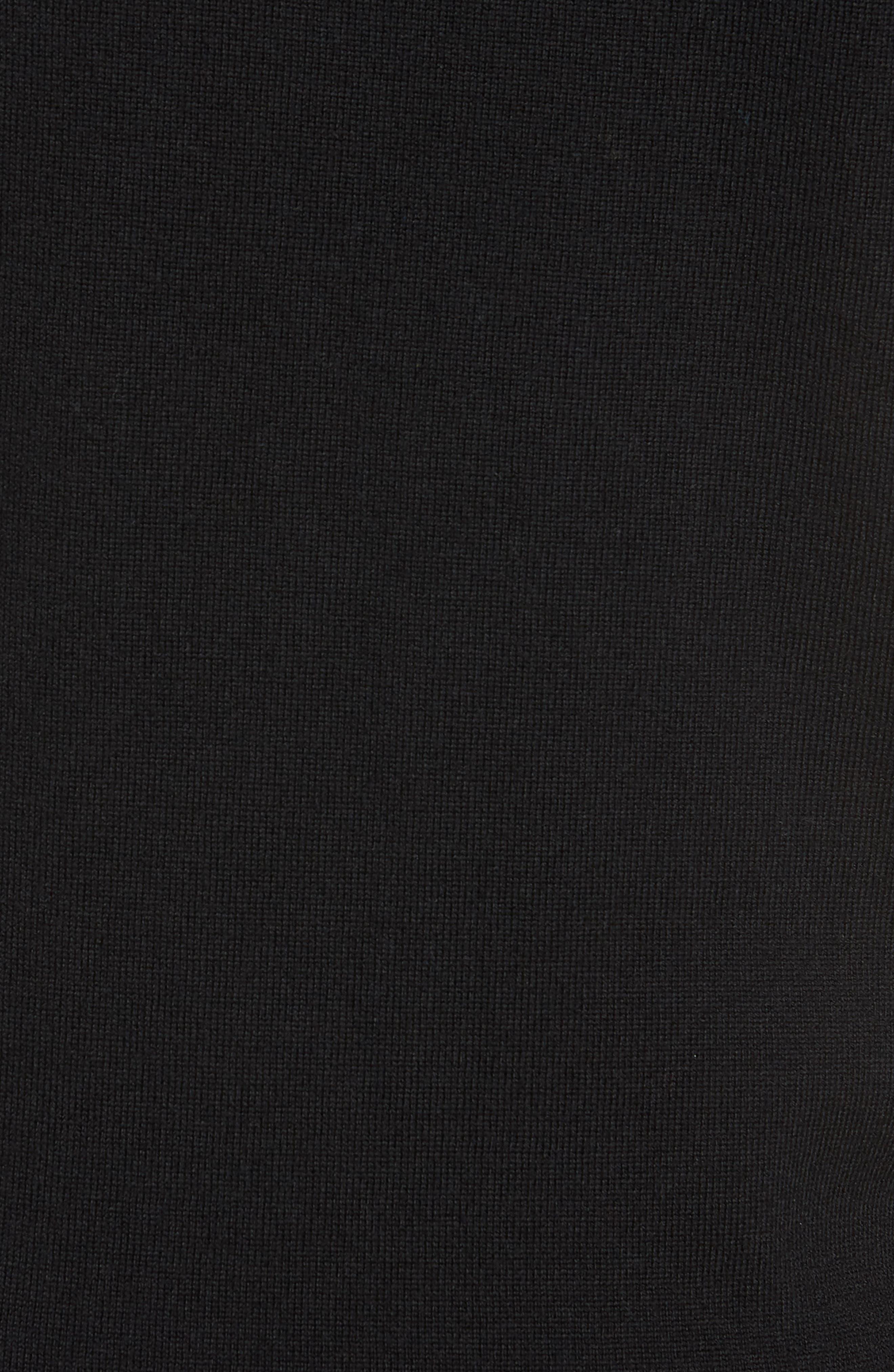 Regular Fit Merino Wool V-Neck Sweater,                             Alternate thumbnail 5, color,                             BLACK CAVIAR
