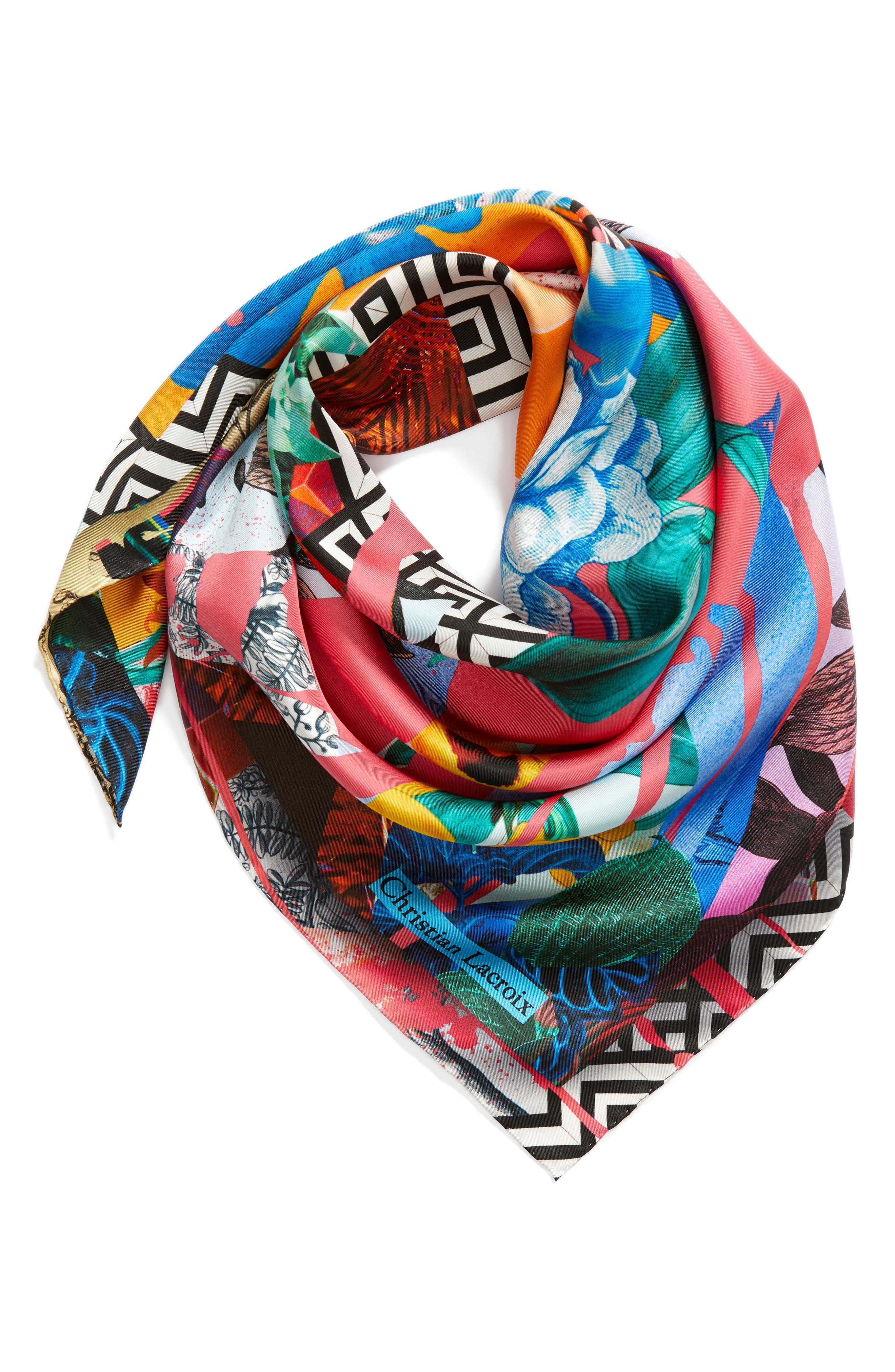 Bayou Fantasy Silk Square Scarf,                             Alternate thumbnail 3, color,                             610
