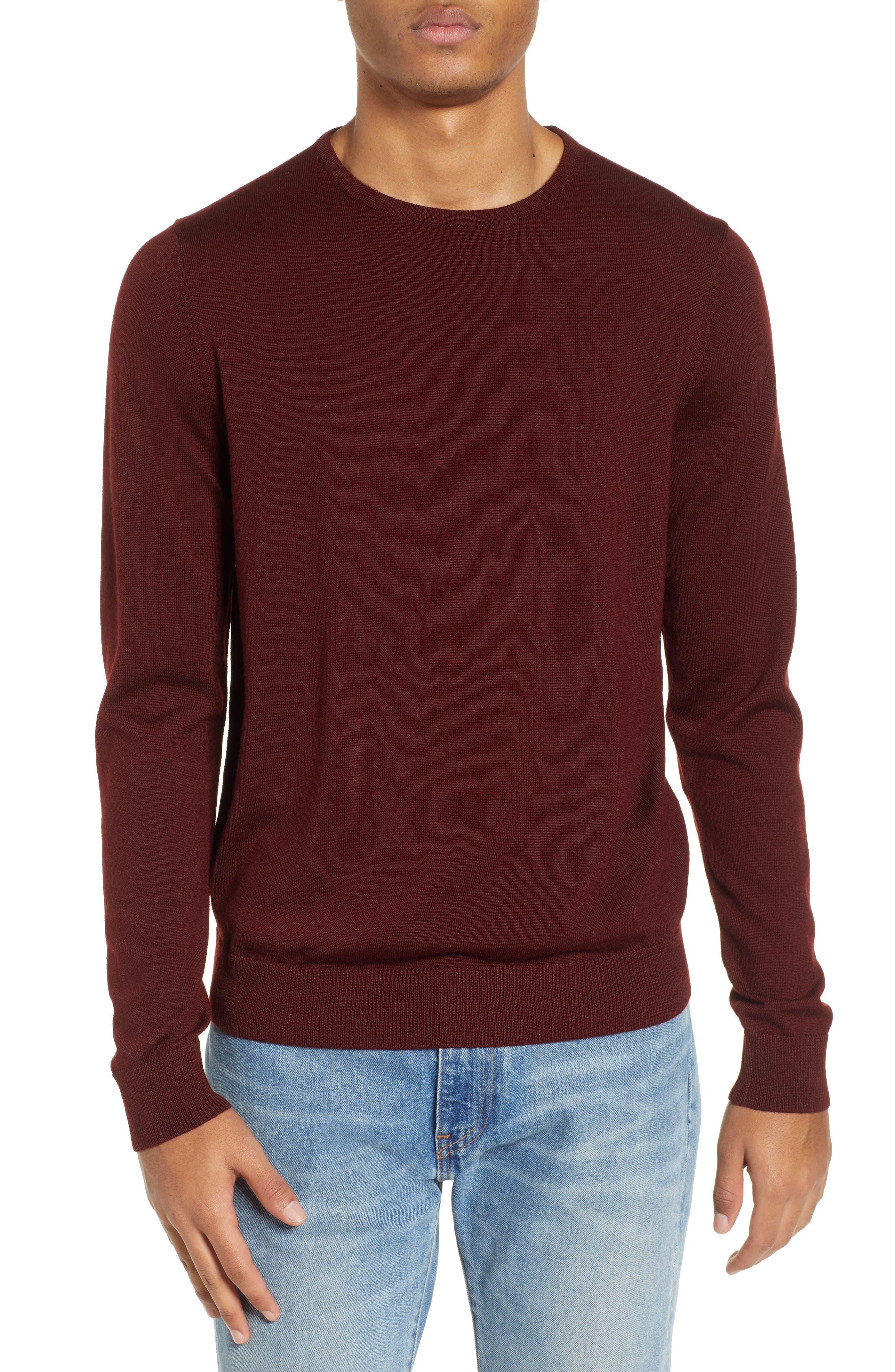 Nordstrom Shop Crewneck Merino Wool Sweater, Burgundy