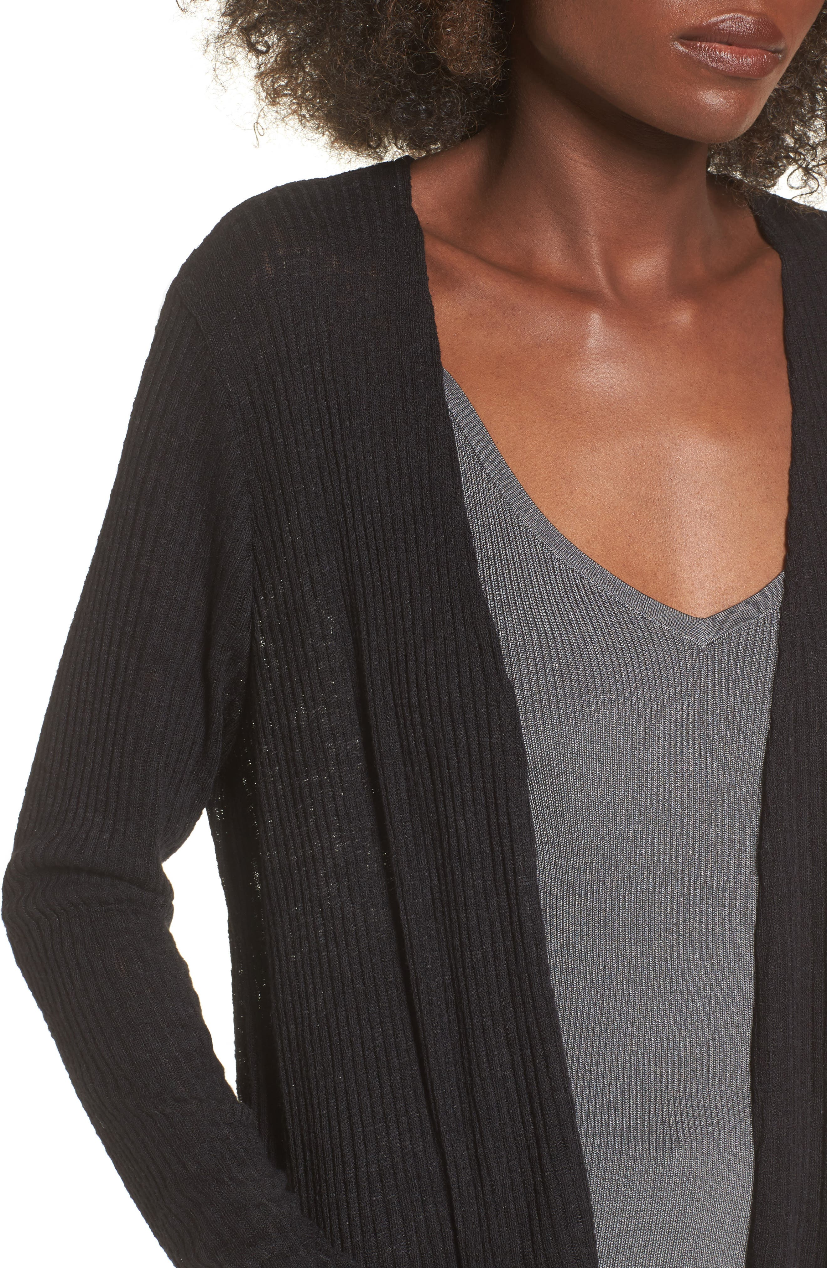 Ribbed Knit Cardigan,                             Alternate thumbnail 4, color,                             001
