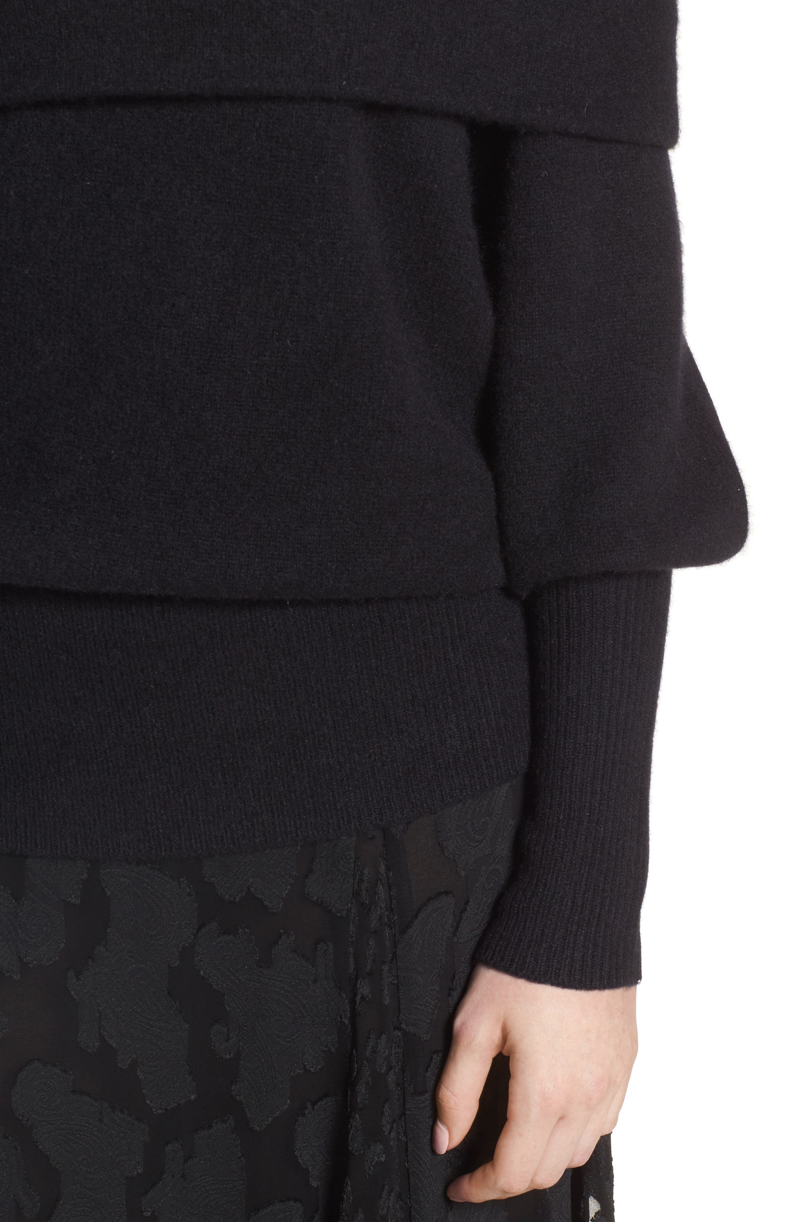 Convertible Neck Cashmere Sweater,                             Alternate thumbnail 4, color,                             001