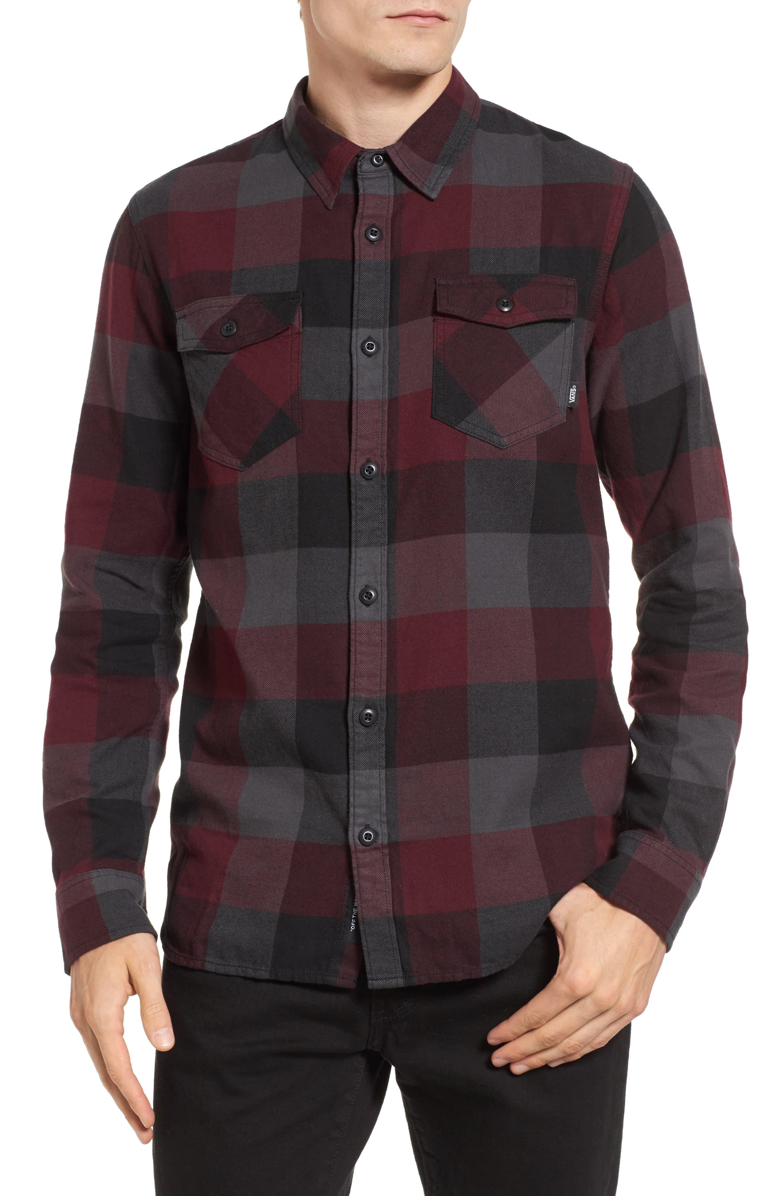 Trim Fit Check Flannel Woven Shirt,                             Main thumbnail 3, color,