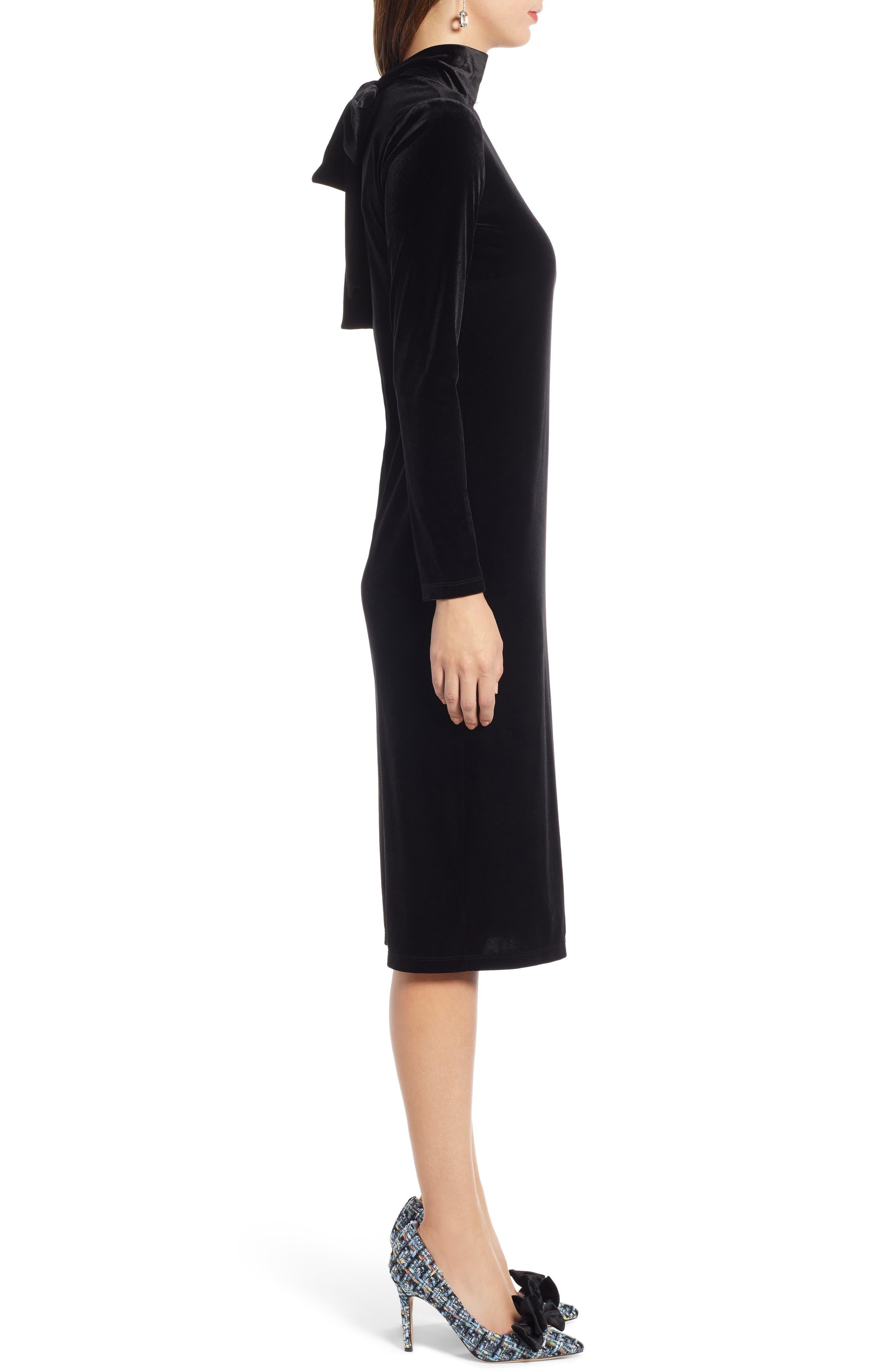 1901,                             Bow Back Stretch Velvet Dress,                             Alternate thumbnail 4, color,                             001
