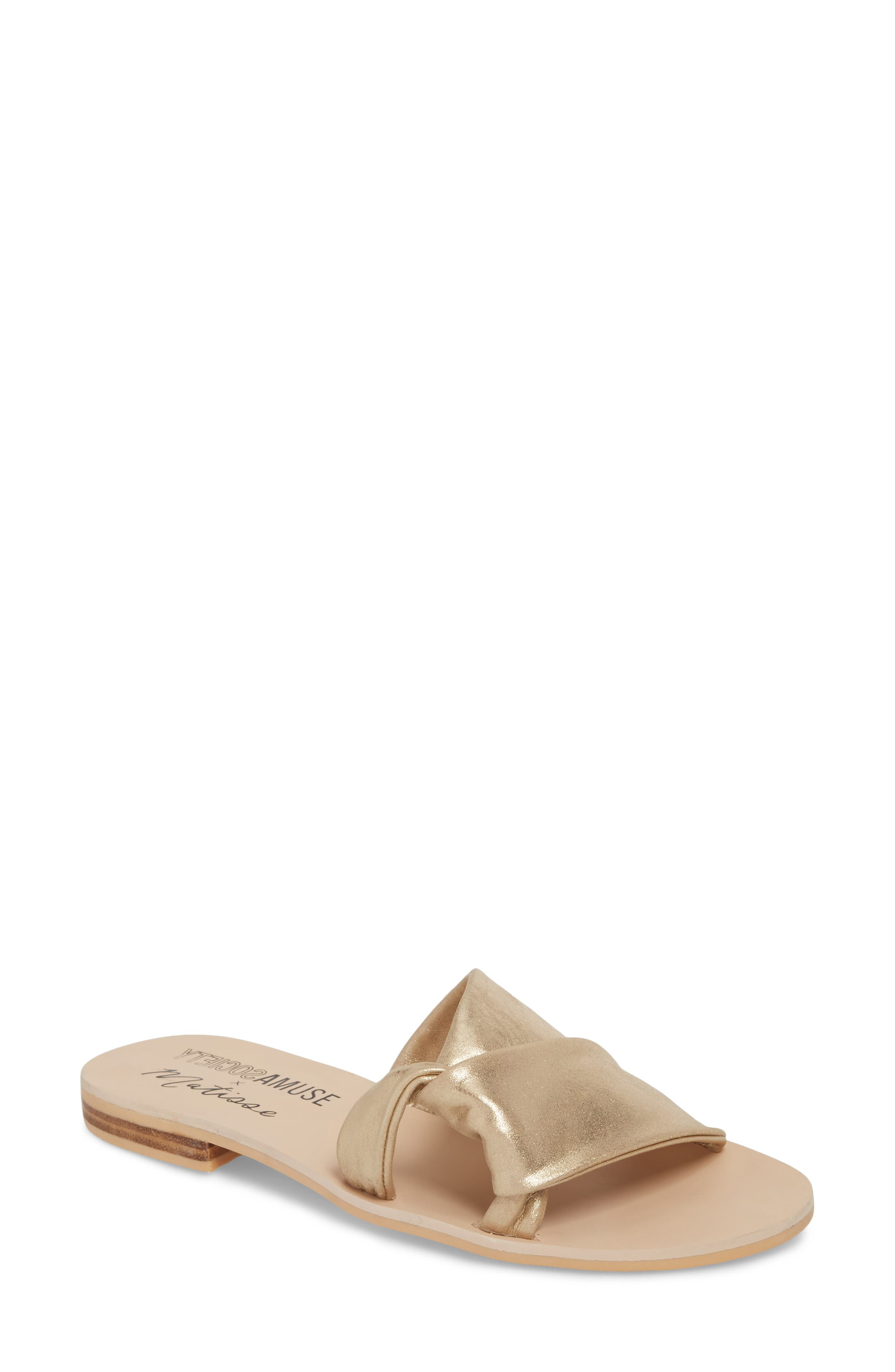 Amuse Society x Matisse Capri Slide Sandal,                         Main,                         color, GOLD LEATHER