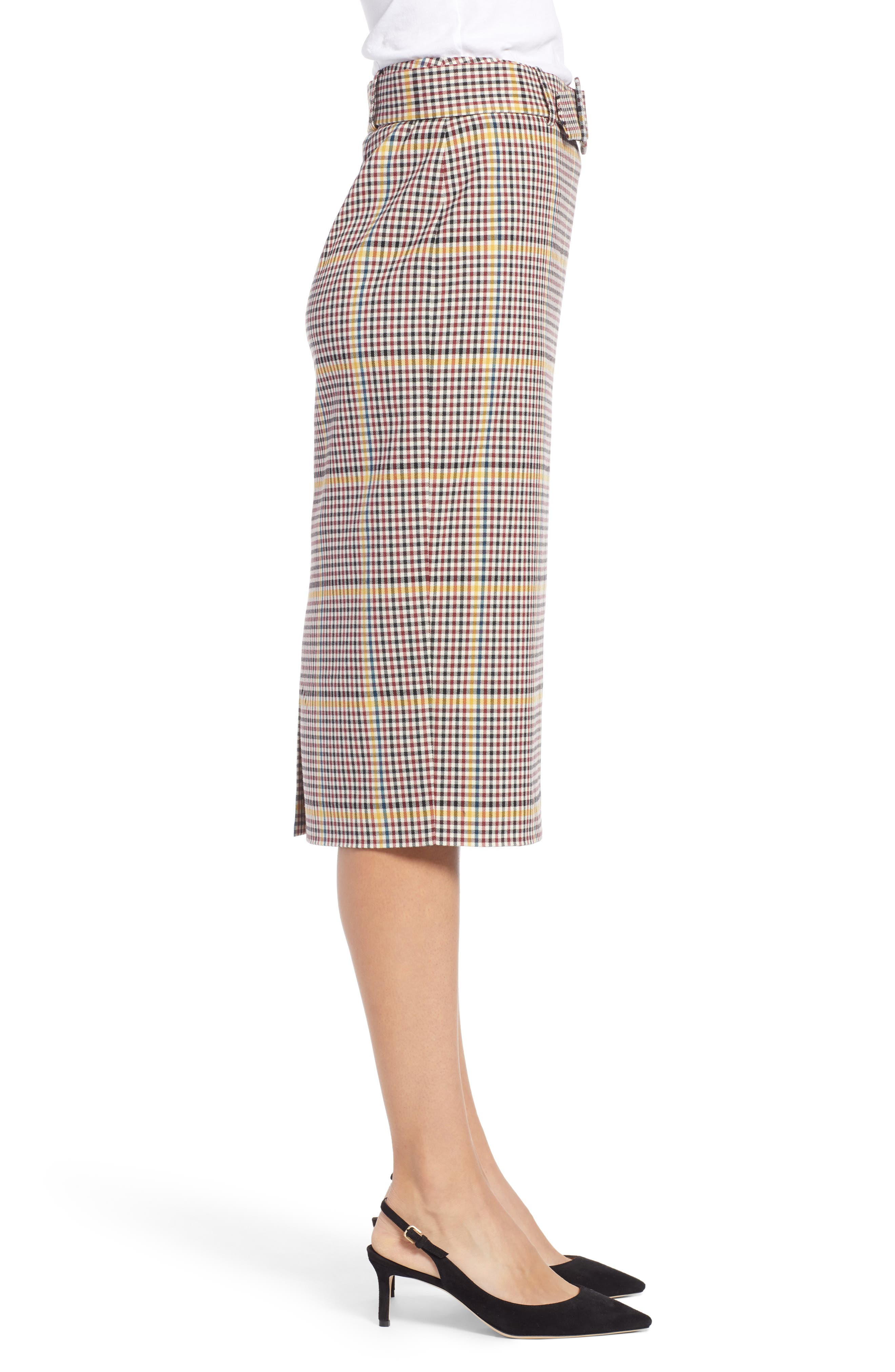 Plaid Pencil Skirt,                             Alternate thumbnail 3, color,                             601