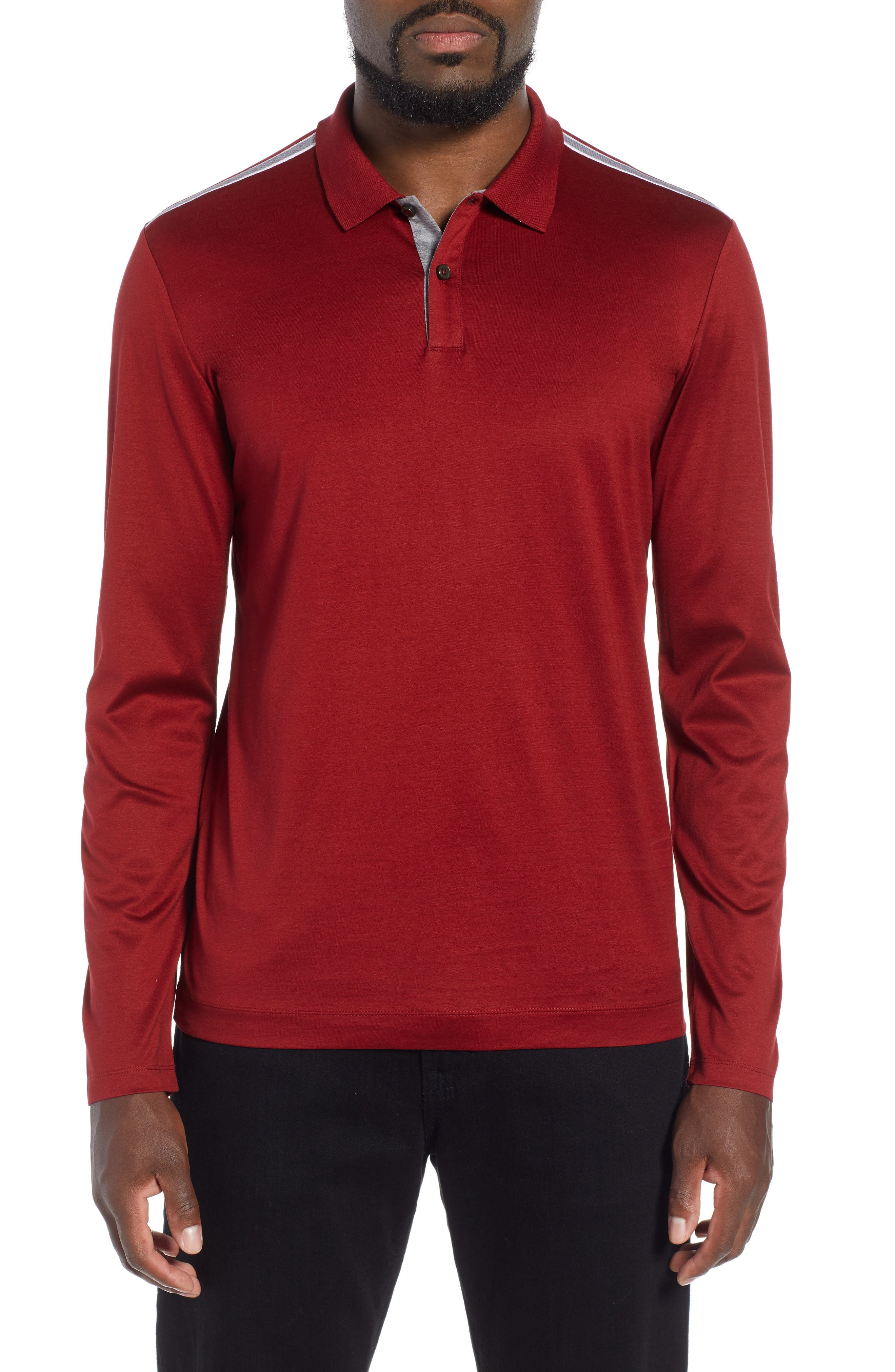 Pleins Slim Fit Long Sleeve Polo,                         Main,                         color, RED
