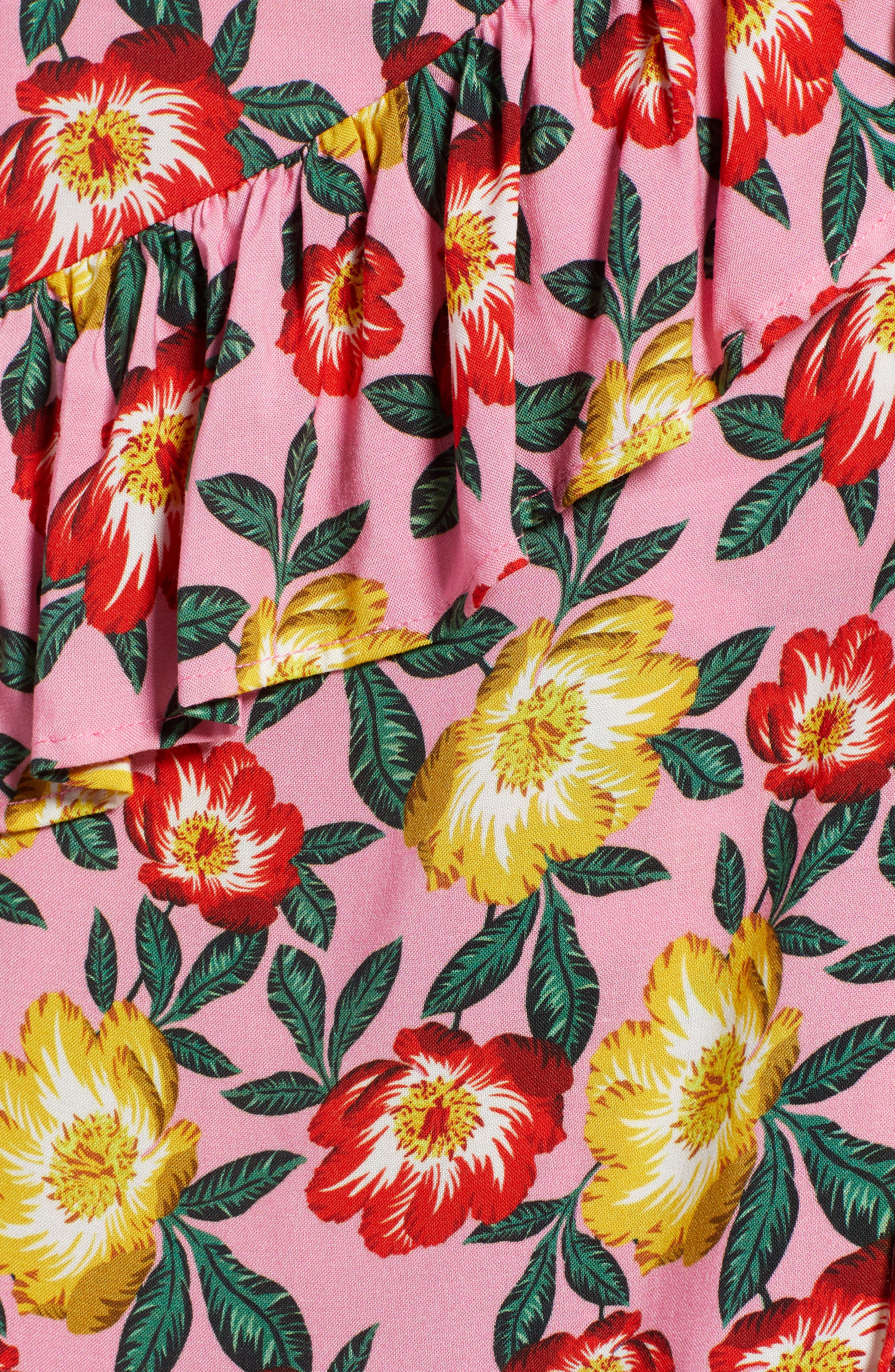 Reunion Floral Print Wrap Skirt,                             Alternate thumbnail 5, color,                             650