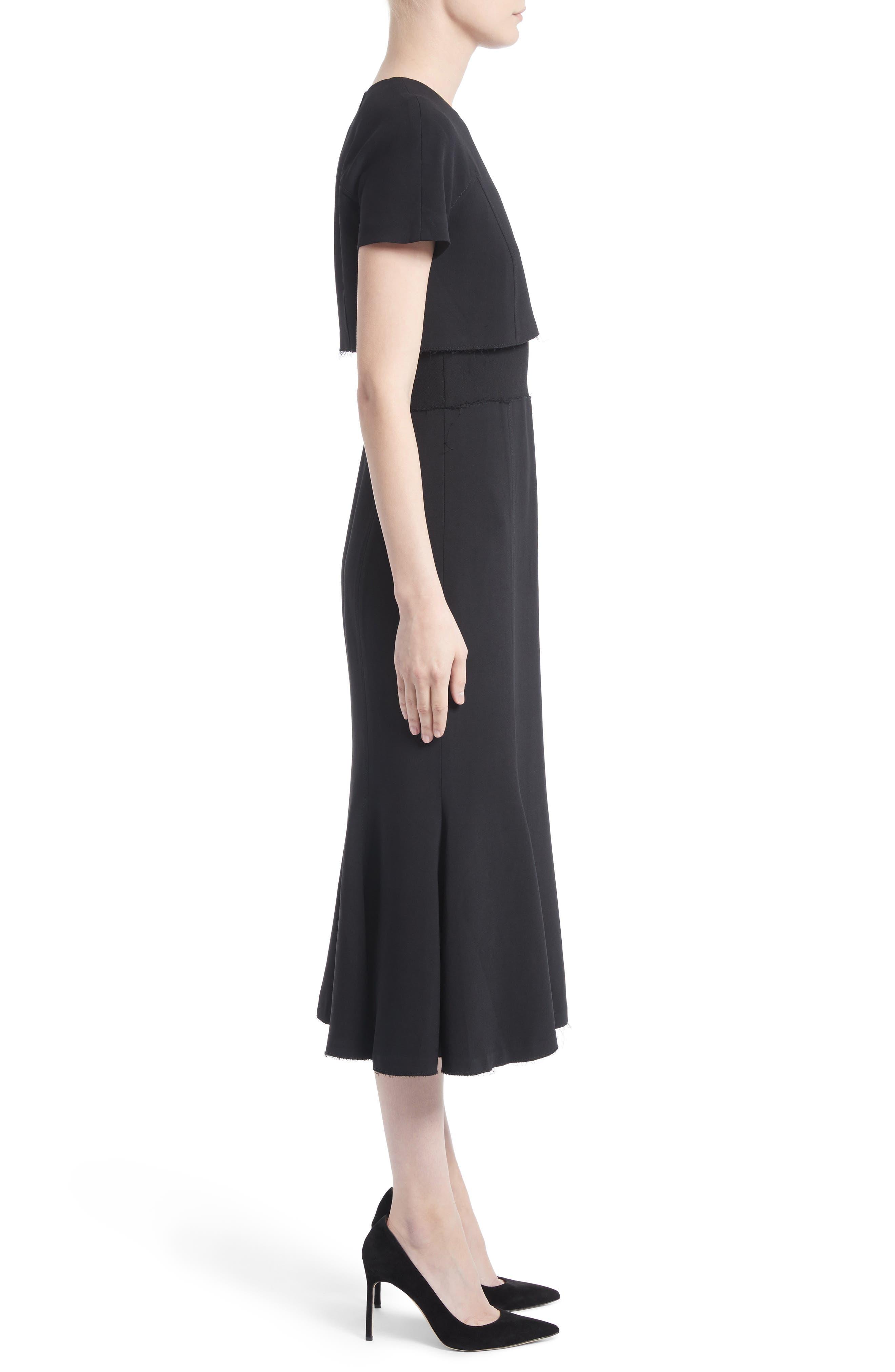 Raw Hem Panel Cady Dress,                             Alternate thumbnail 3, color,                             001