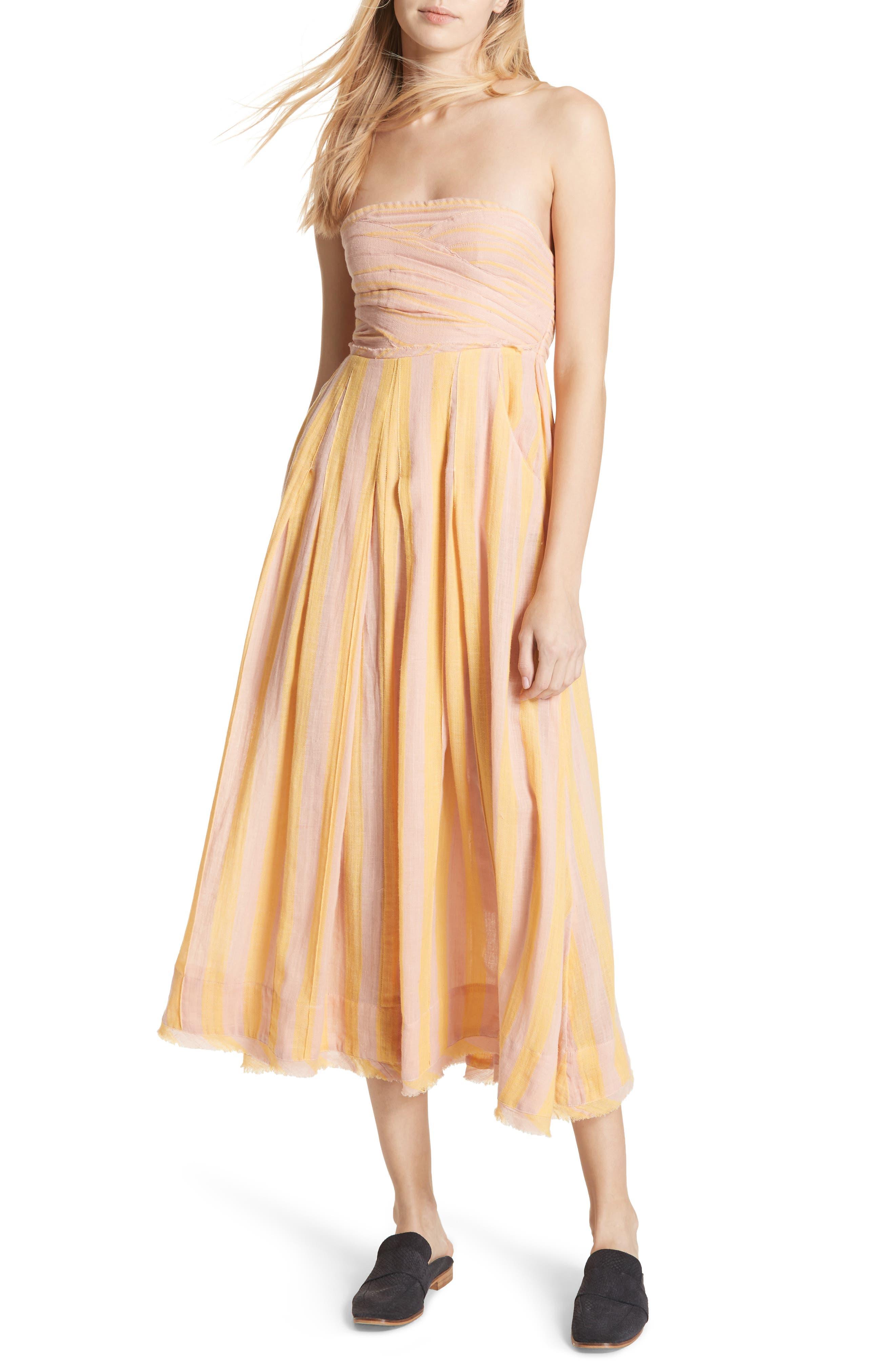 Stripe Me Up Strapless Midi Dress,                             Main thumbnail 2, color,