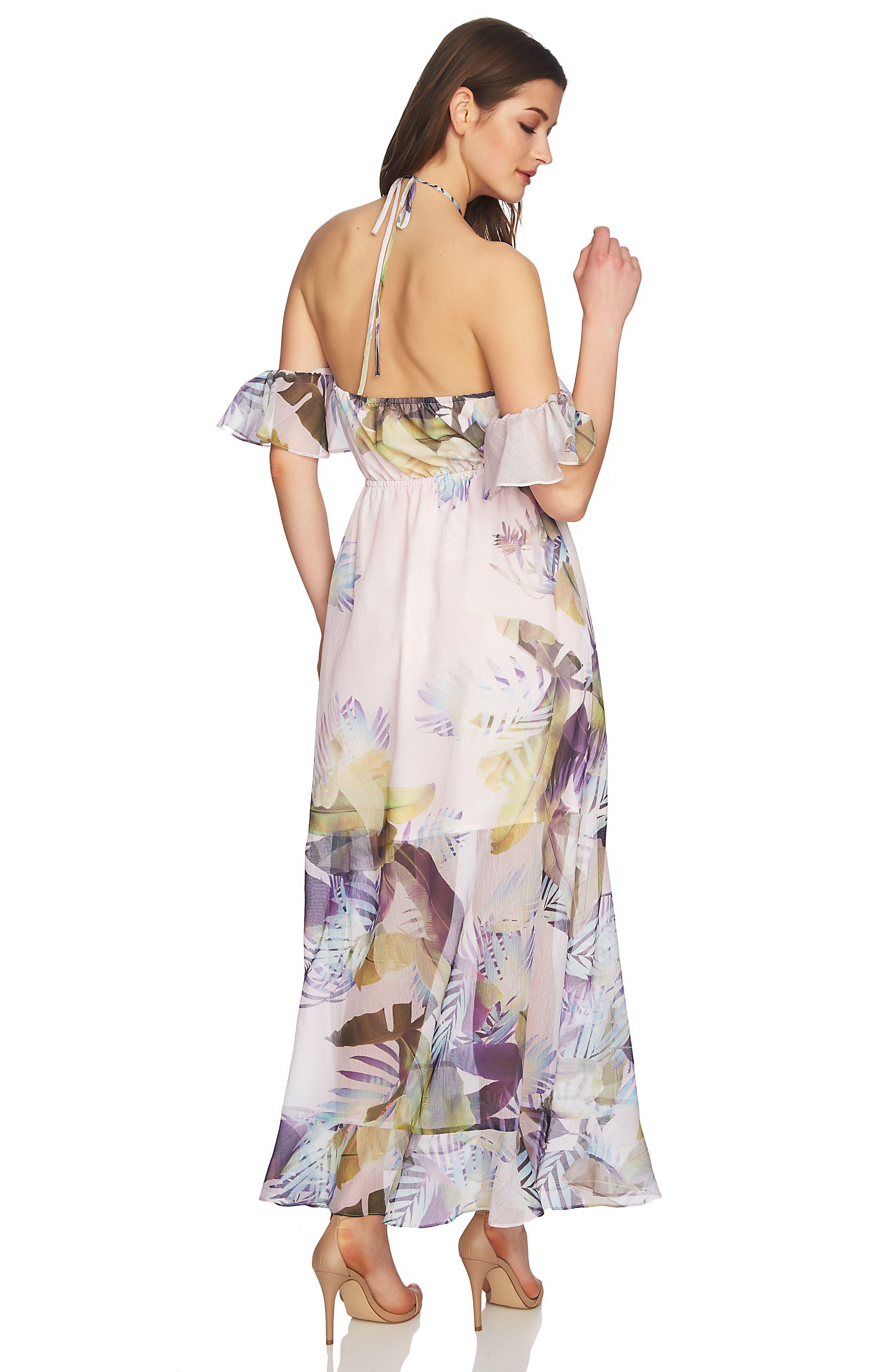 Danielle Tropical Print Cold Shoulder Maxi Dress,                             Alternate thumbnail 3, color,                             650