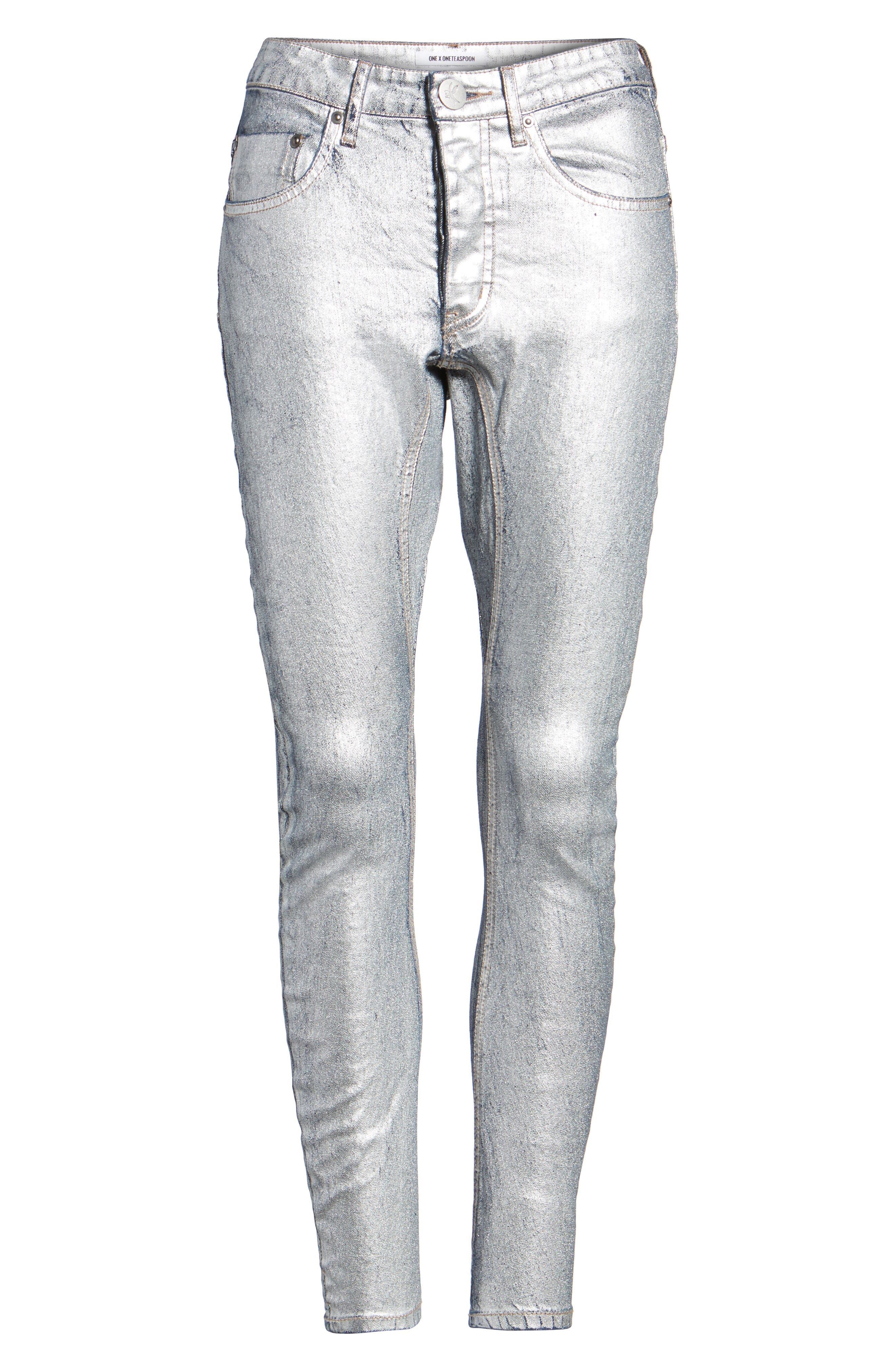 Kidds Metallic Drop Crotch Skinny Jeans,                             Alternate thumbnail 6, color,                             040