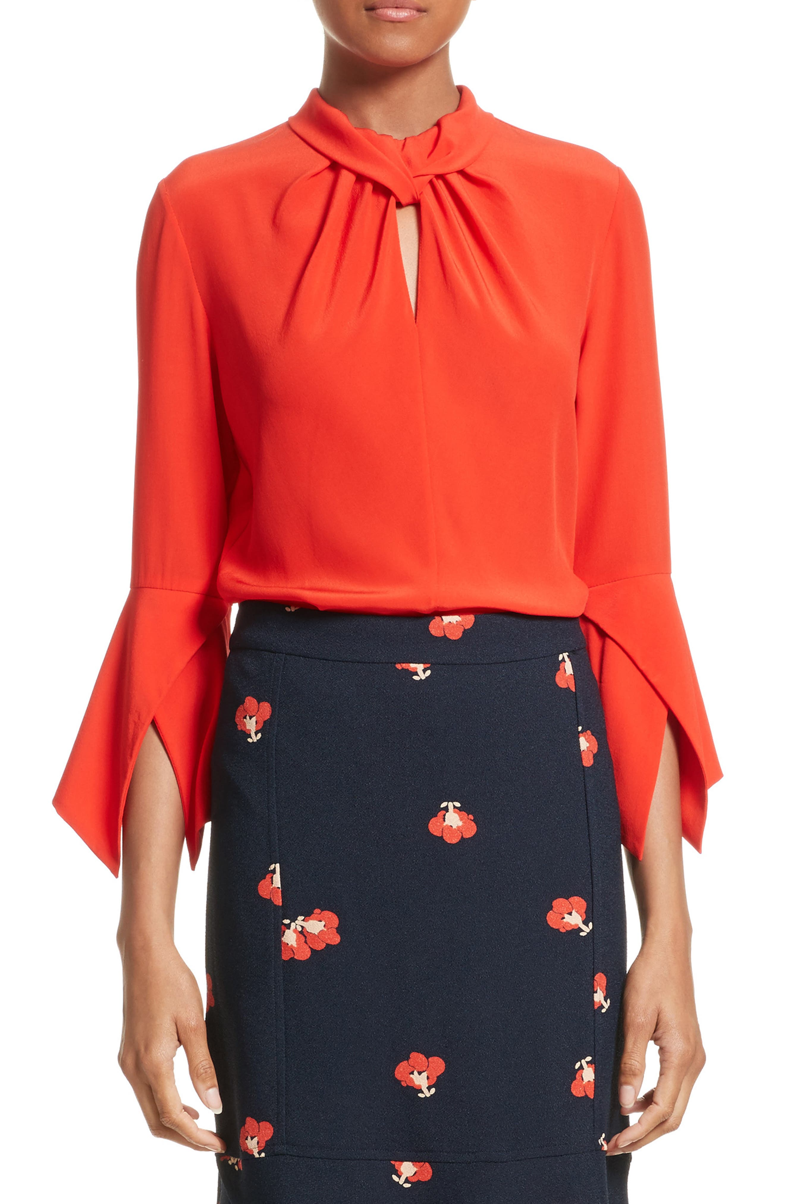 Twisted Silk Bell Sleeve Blouse,                             Main thumbnail 1, color,                             605