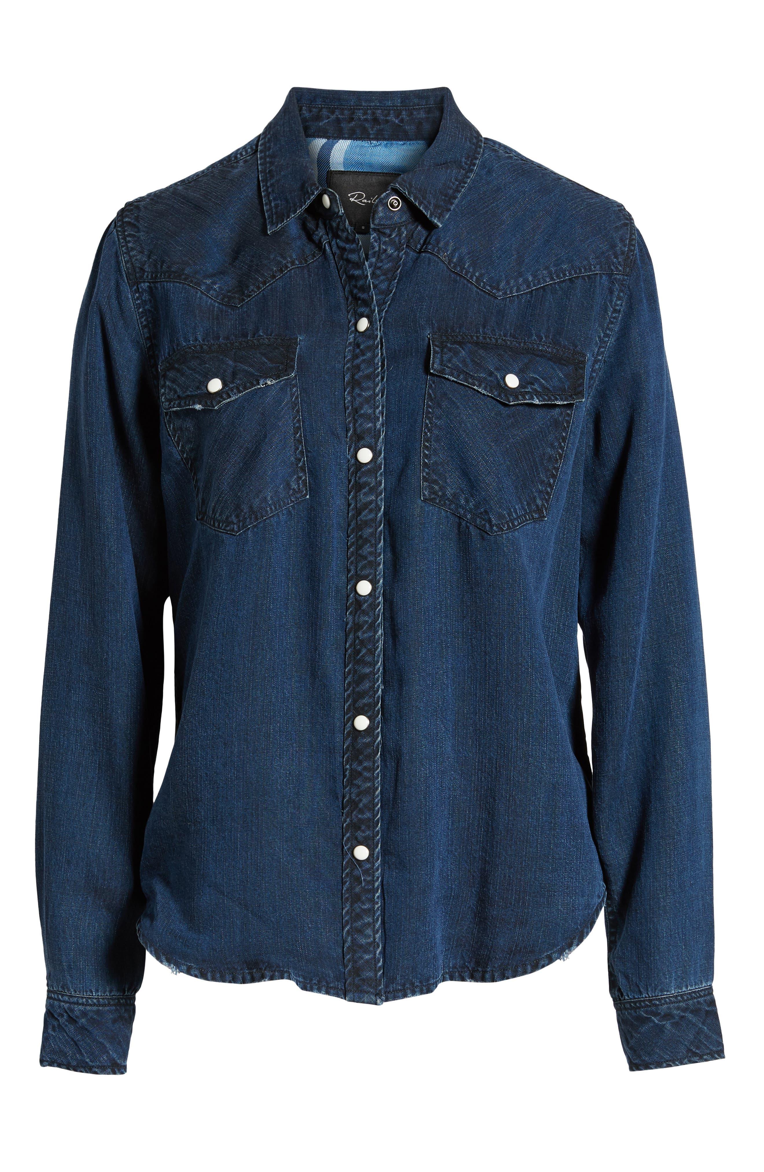 West Button Down Shirt,                             Alternate thumbnail 6, color,                             DARK VINTAGE LAPIS COAST WHITE