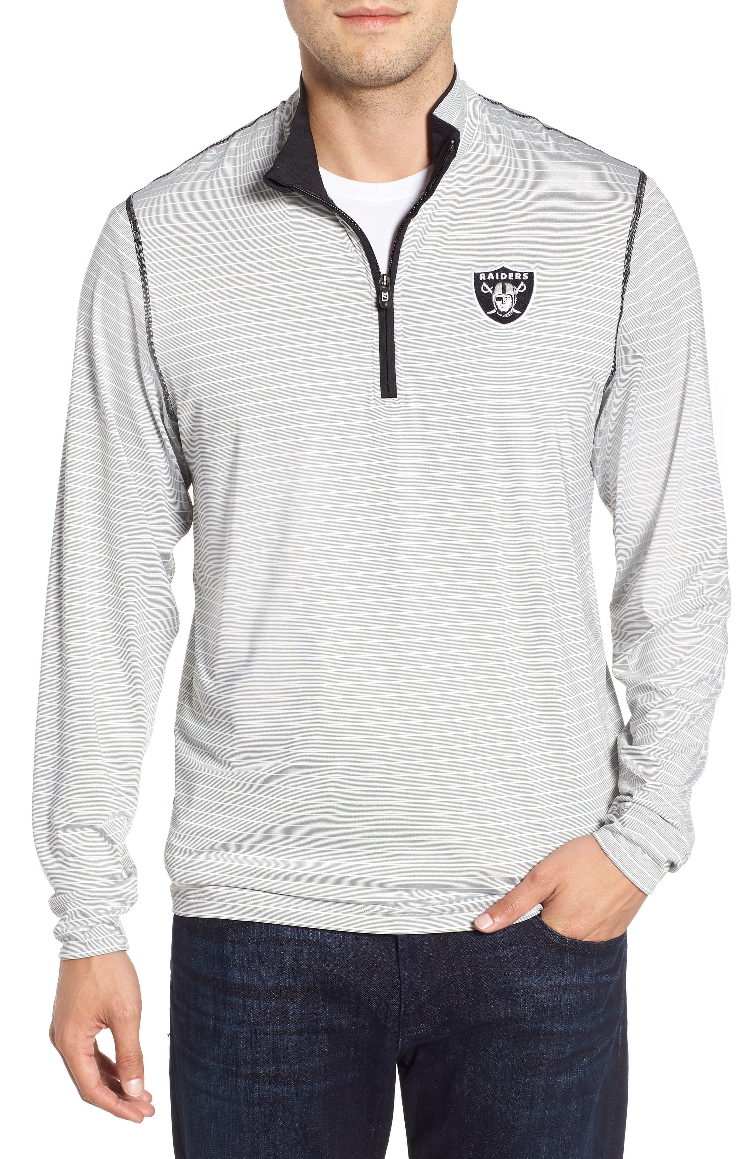 Oakland Raiders - Meridian Half Zip Pullover,                             Main thumbnail 1, color,                             BLACK