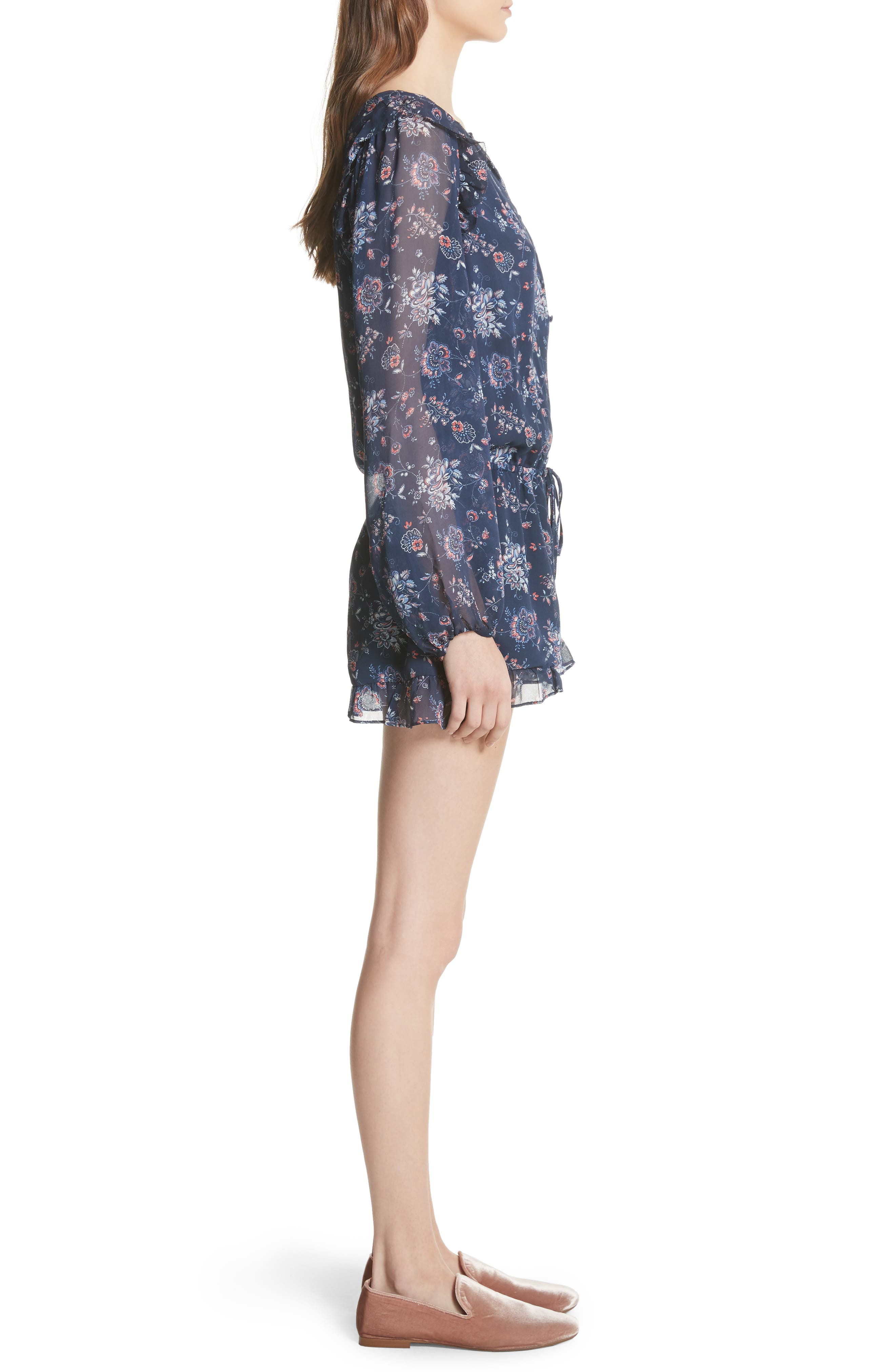 Cherita Floral Silk Romper,                             Alternate thumbnail 3, color,                             418