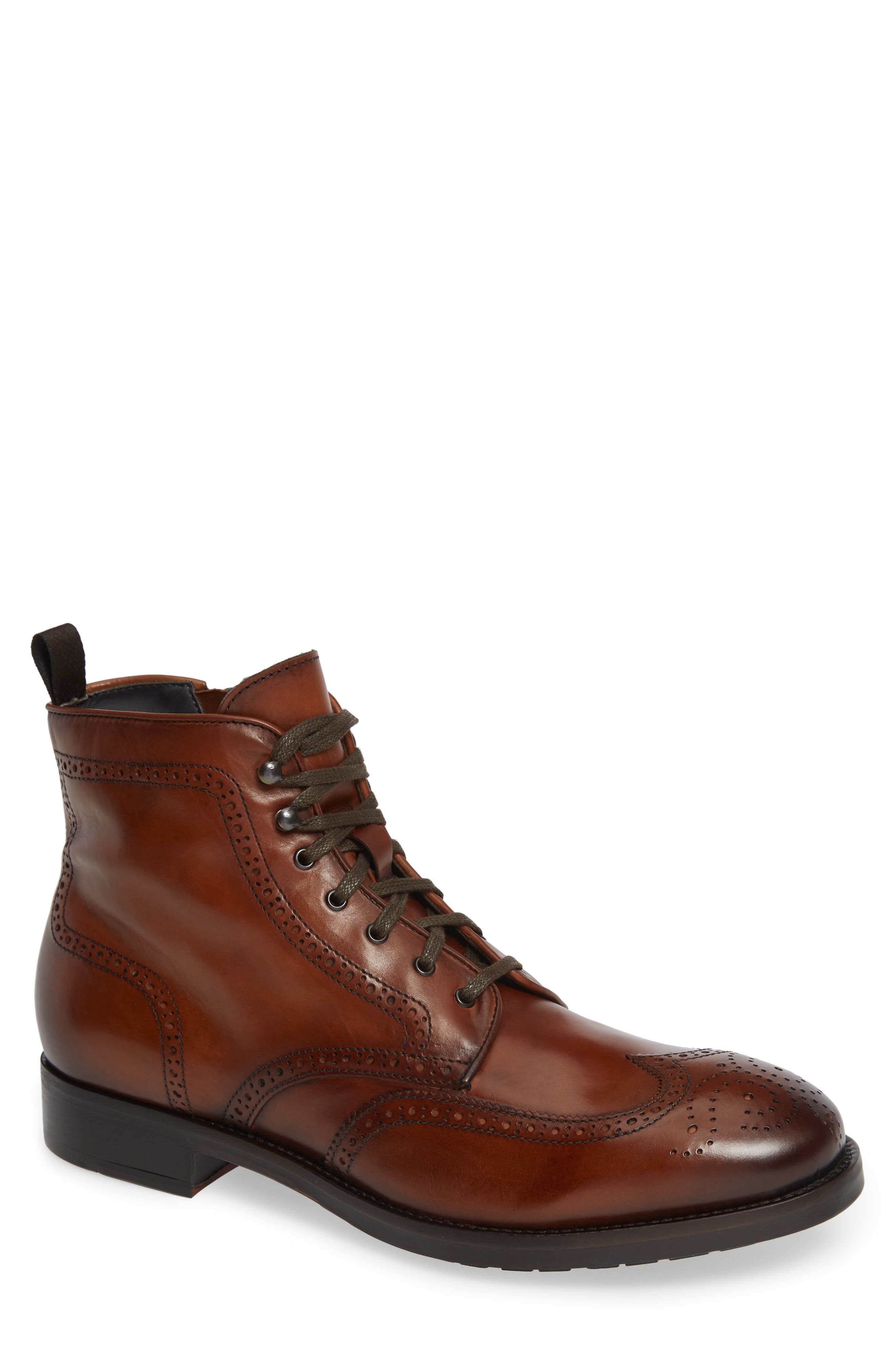 Auckland Wingtip Boot,                         Main,                         color, BROWN LEATHER
