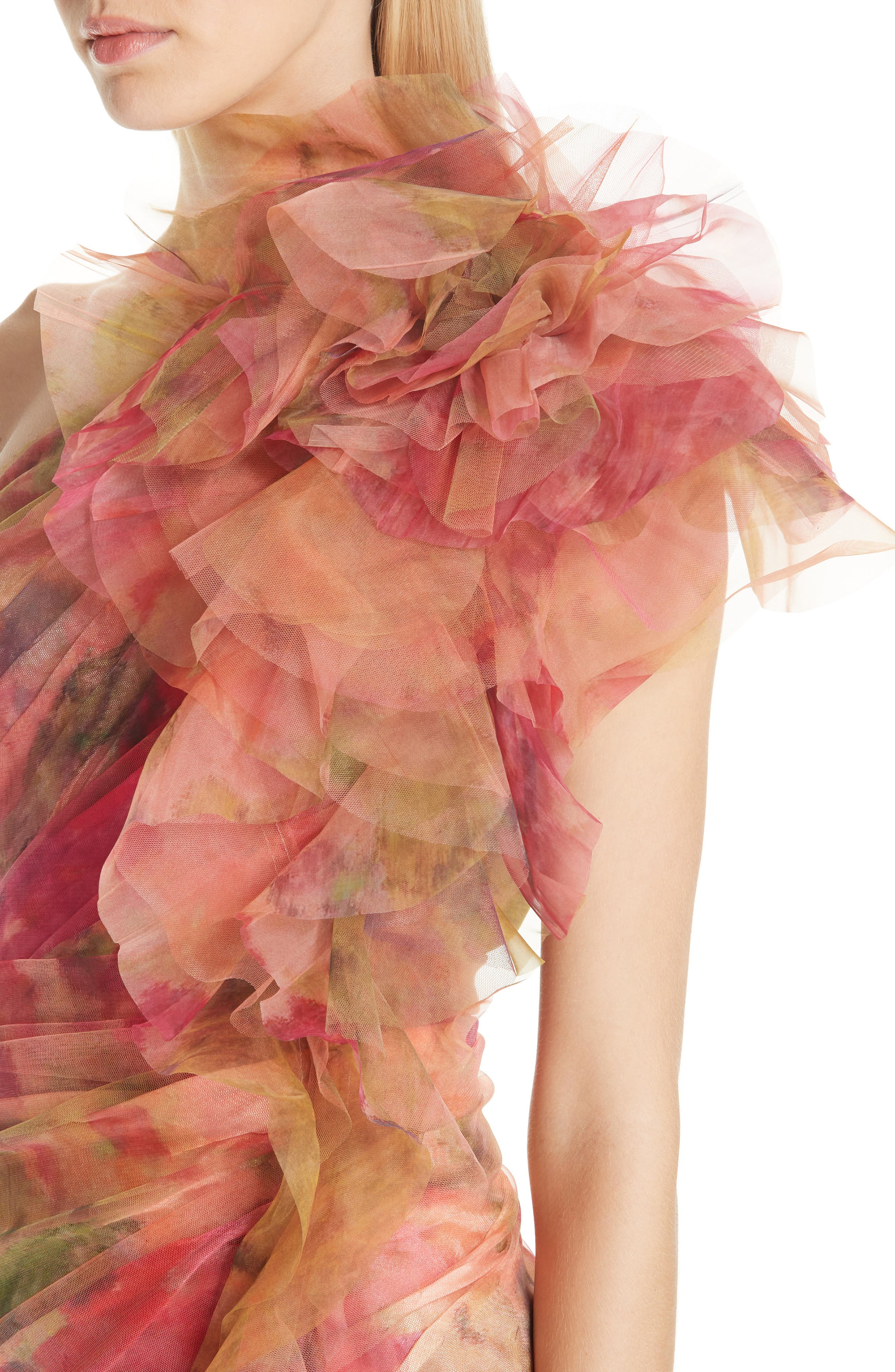 Floral One-Shoulder Silk Evening Dress,                             Alternate thumbnail 4, color,                             CORAL PRINT
