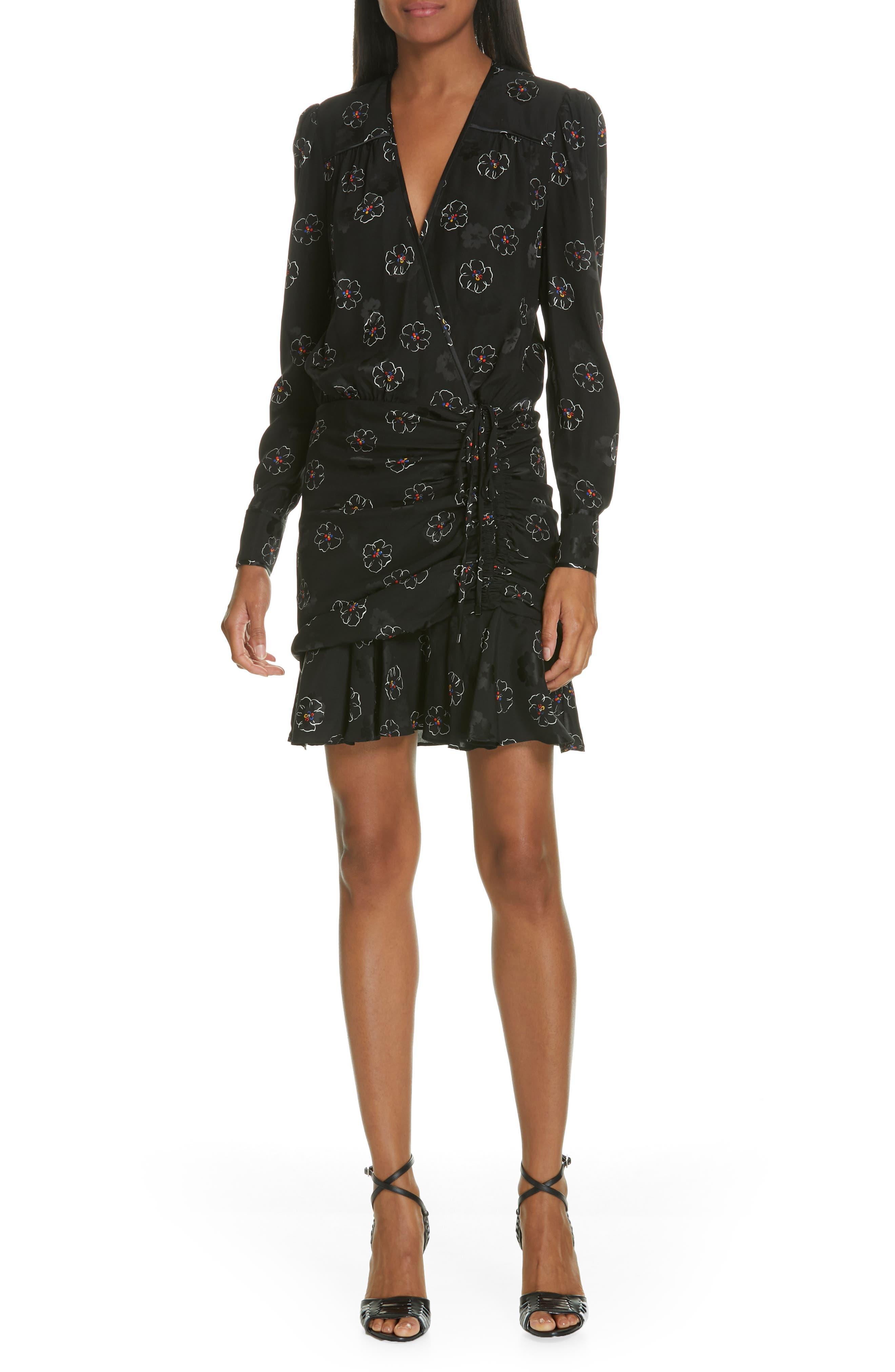 Anders Floral Print Stretch Silk Dress,                         Main,                         color, BLACK MULTI