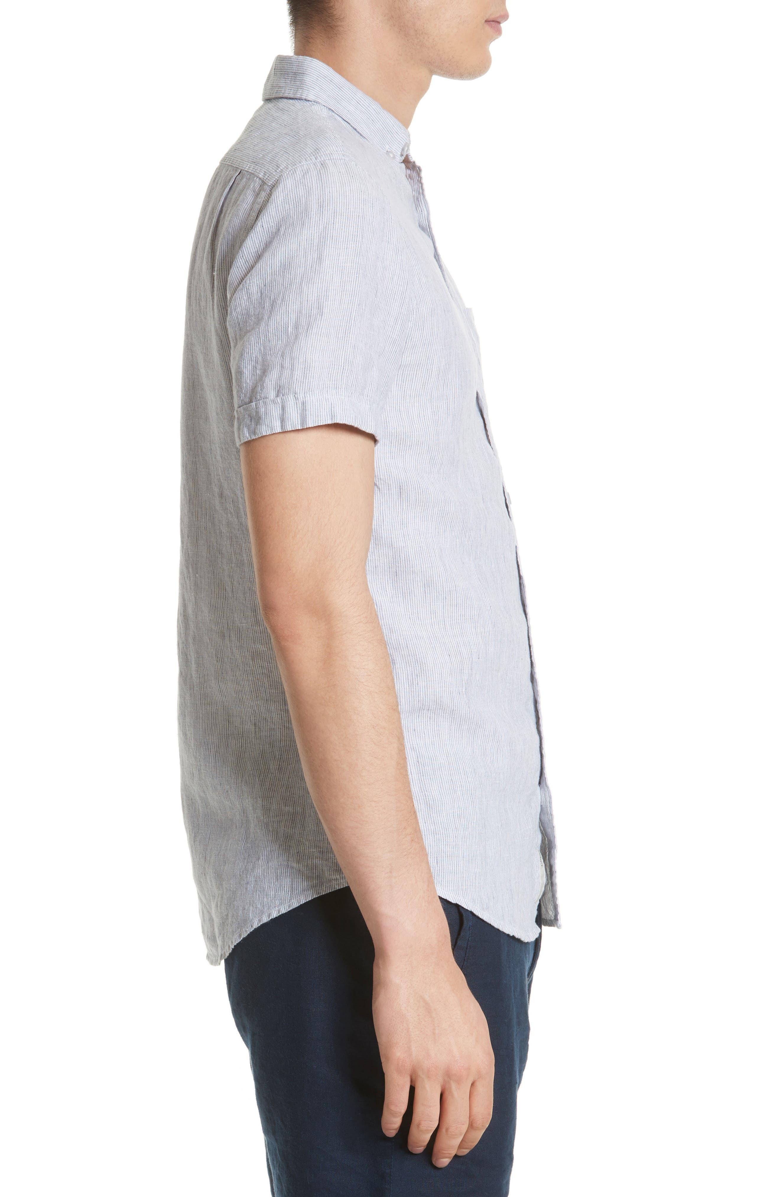 Trim Fit Microstripe Linen Shirt,                             Alternate thumbnail 4, color,                             100