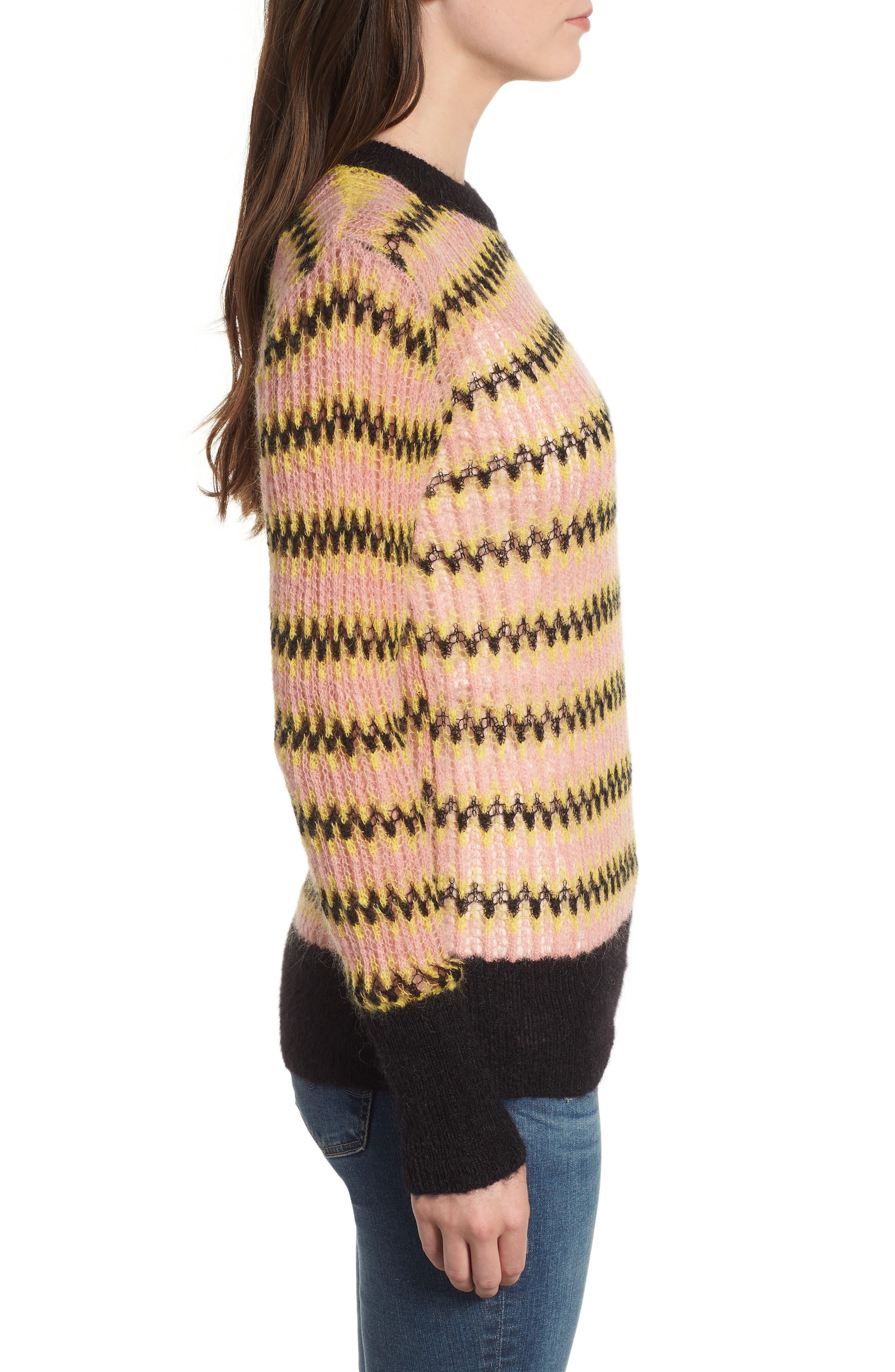 Zig Zag Wool Blend Sweater,                             Alternate thumbnail 3, color,                             MULTI PINK YELLOW ZIGZAG PRINT