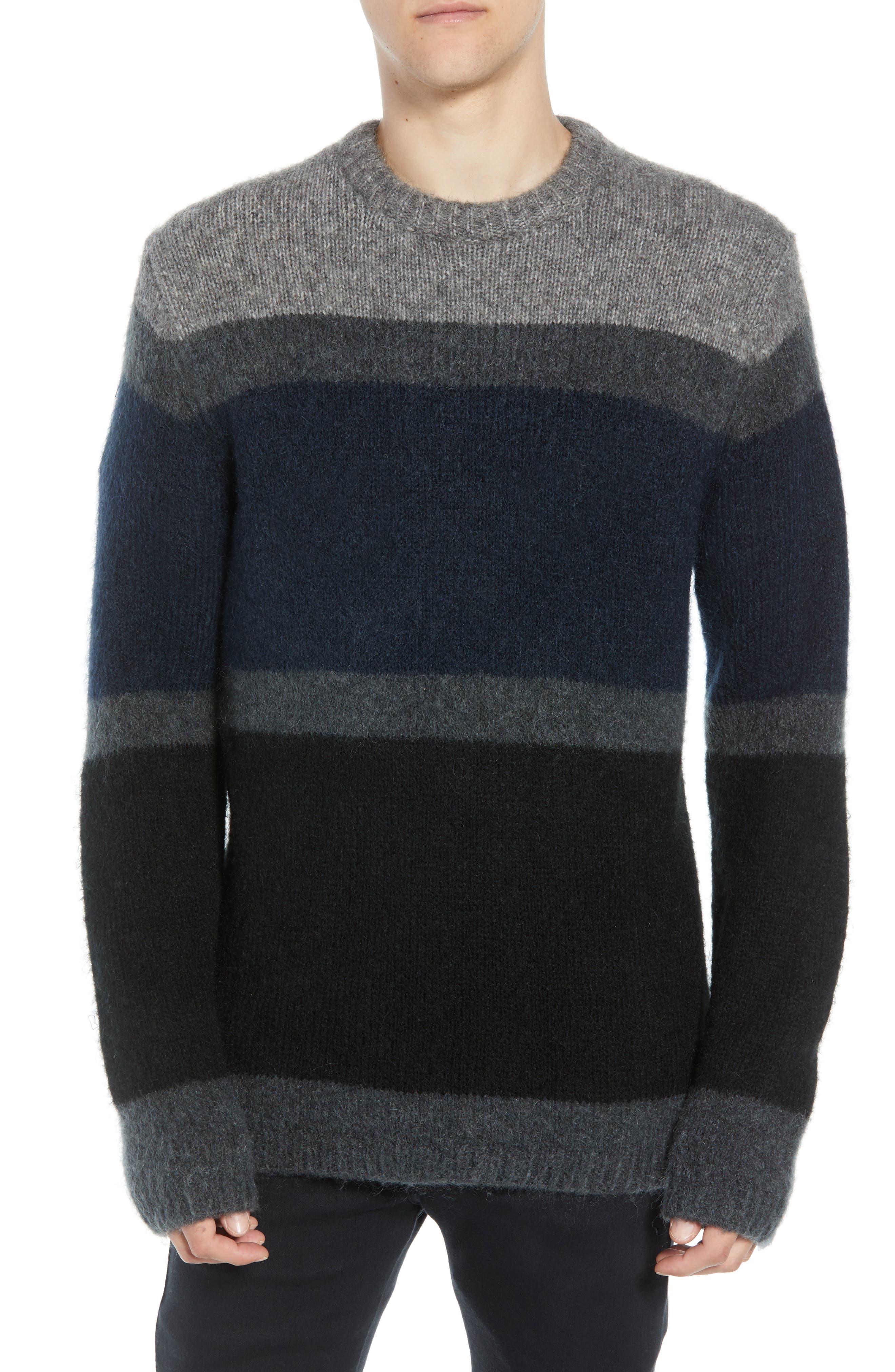 Stripe Sweater,                         Main,                         color, UTILITY BLUE CHARCOAL MELANGE