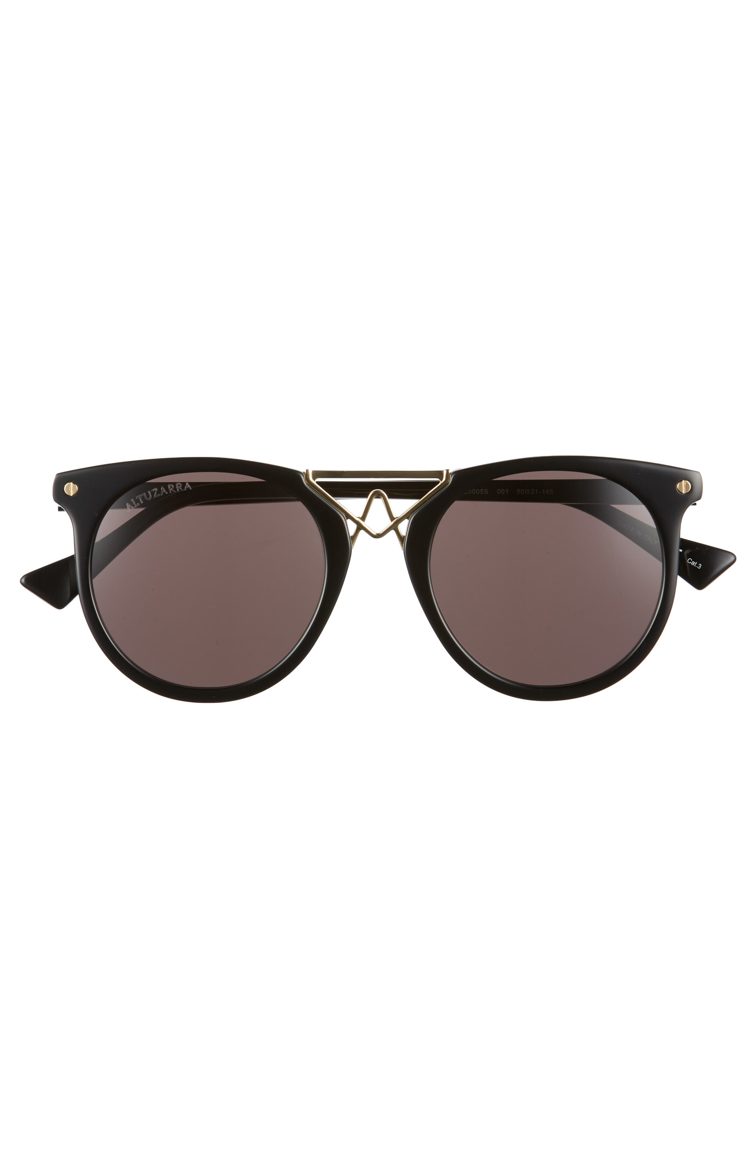 50mm Round Sunglasses,                             Alternate thumbnail 3, color,                             BLACK/ GOLD