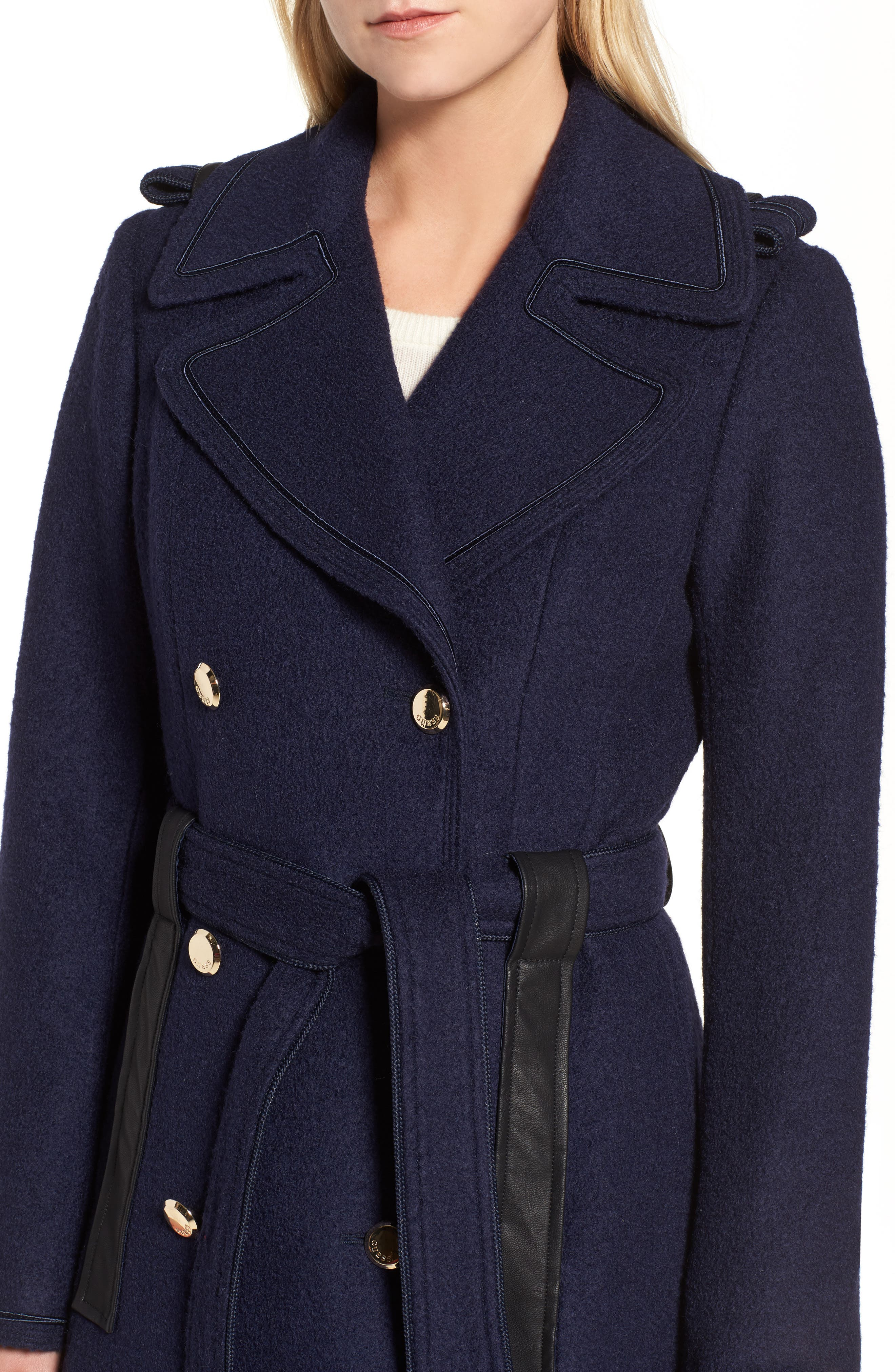 Boiled Wool Trench Coat,                             Alternate thumbnail 4, color,                             410