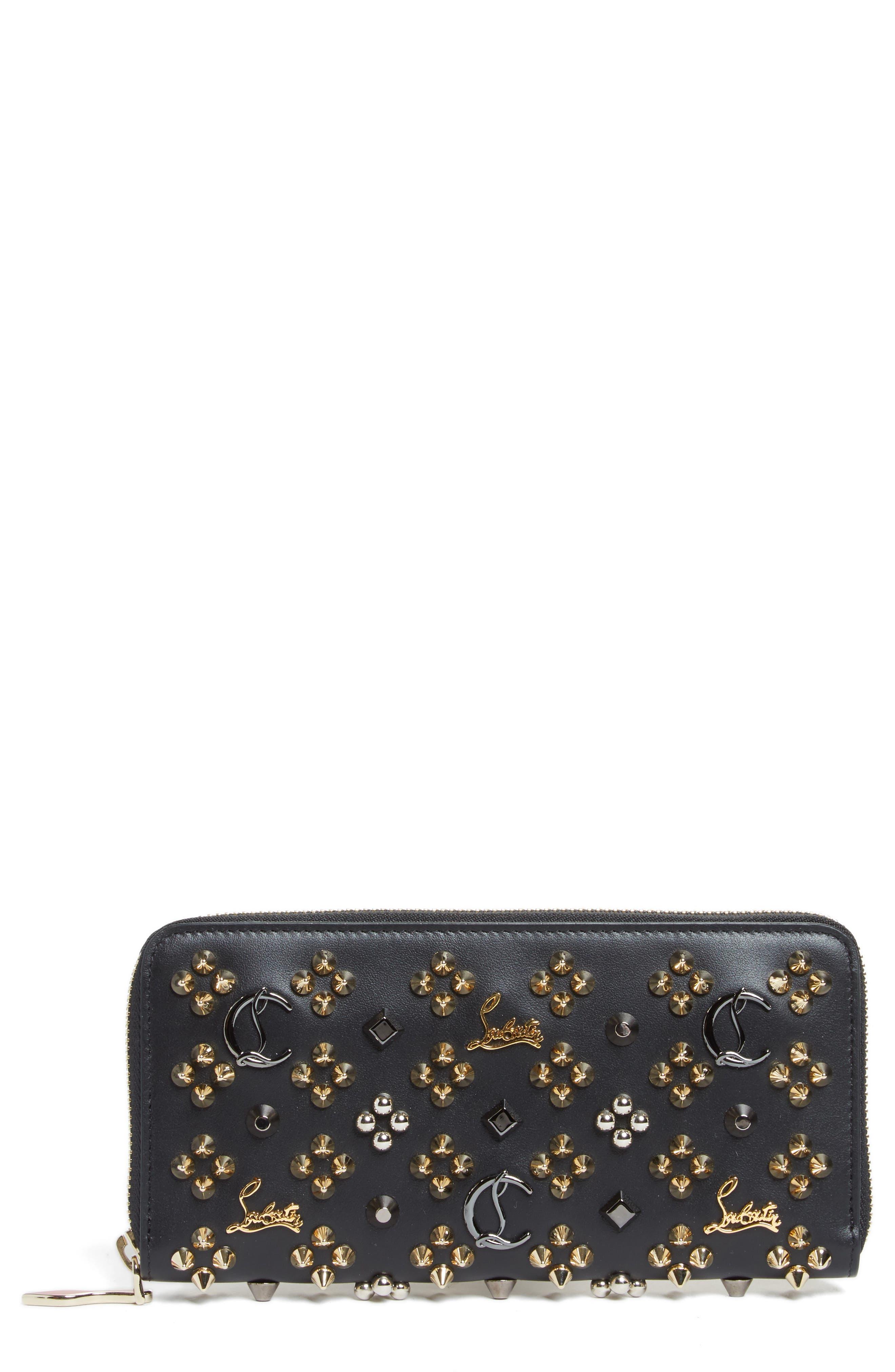 Panettone Spiked Calfskin Wallet,                         Main,                         color, BLACK/MULTIMETAL
