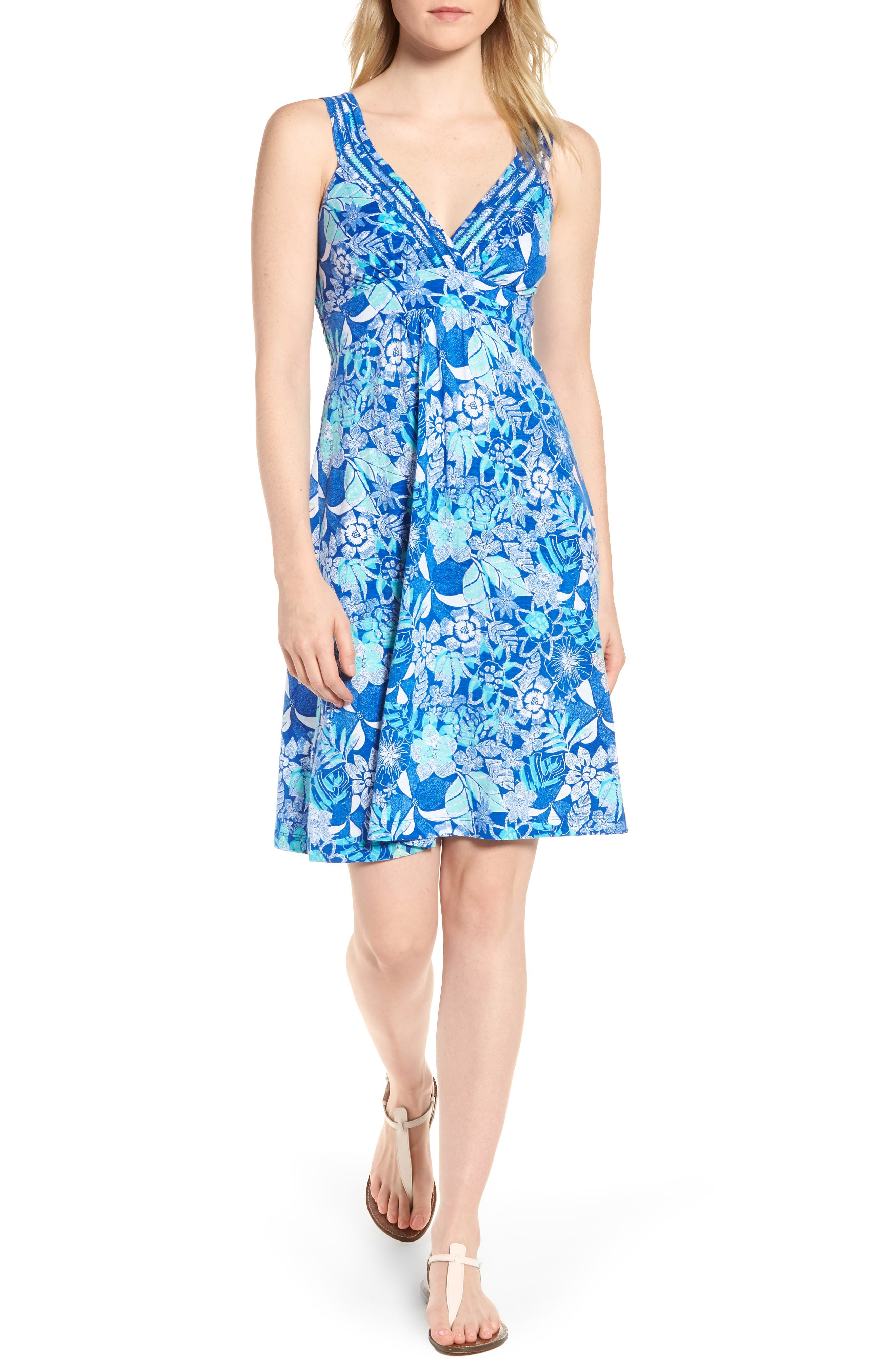 Boardwalk Blooms A-Line Dress,                             Main thumbnail 1, color,                             COBALT