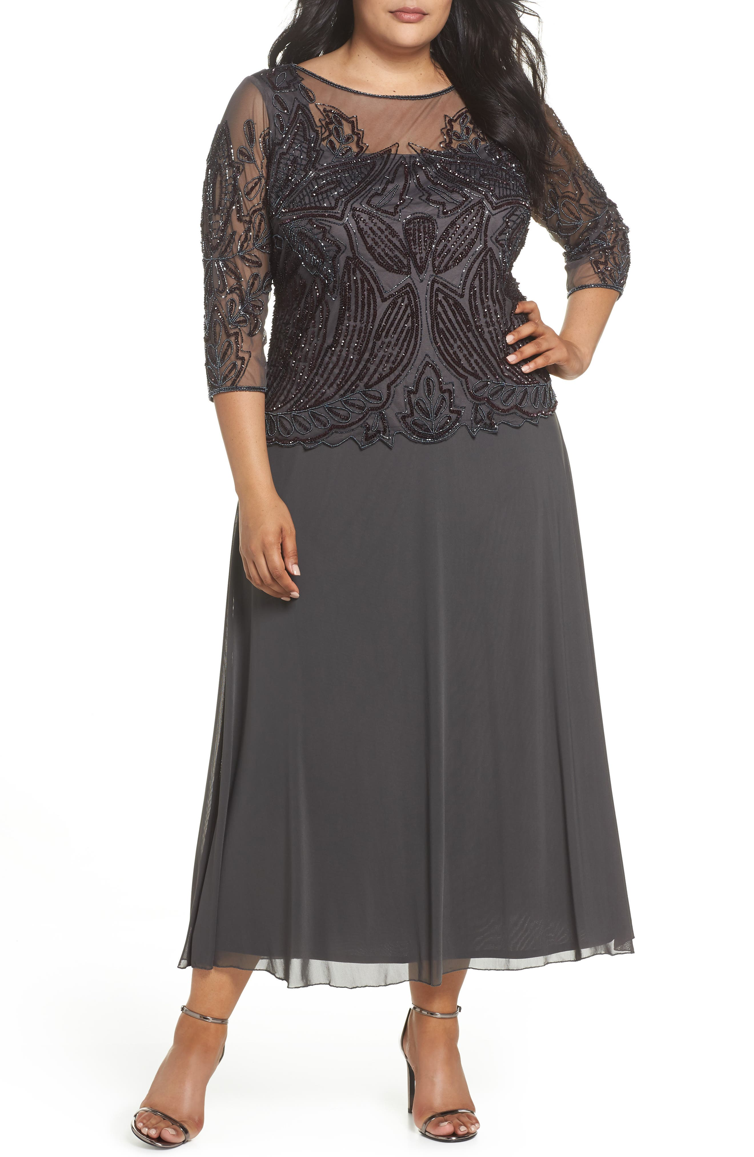 Illusion Neck Beaded A-Line Gown,                         Main,                         color, NEW ASH
